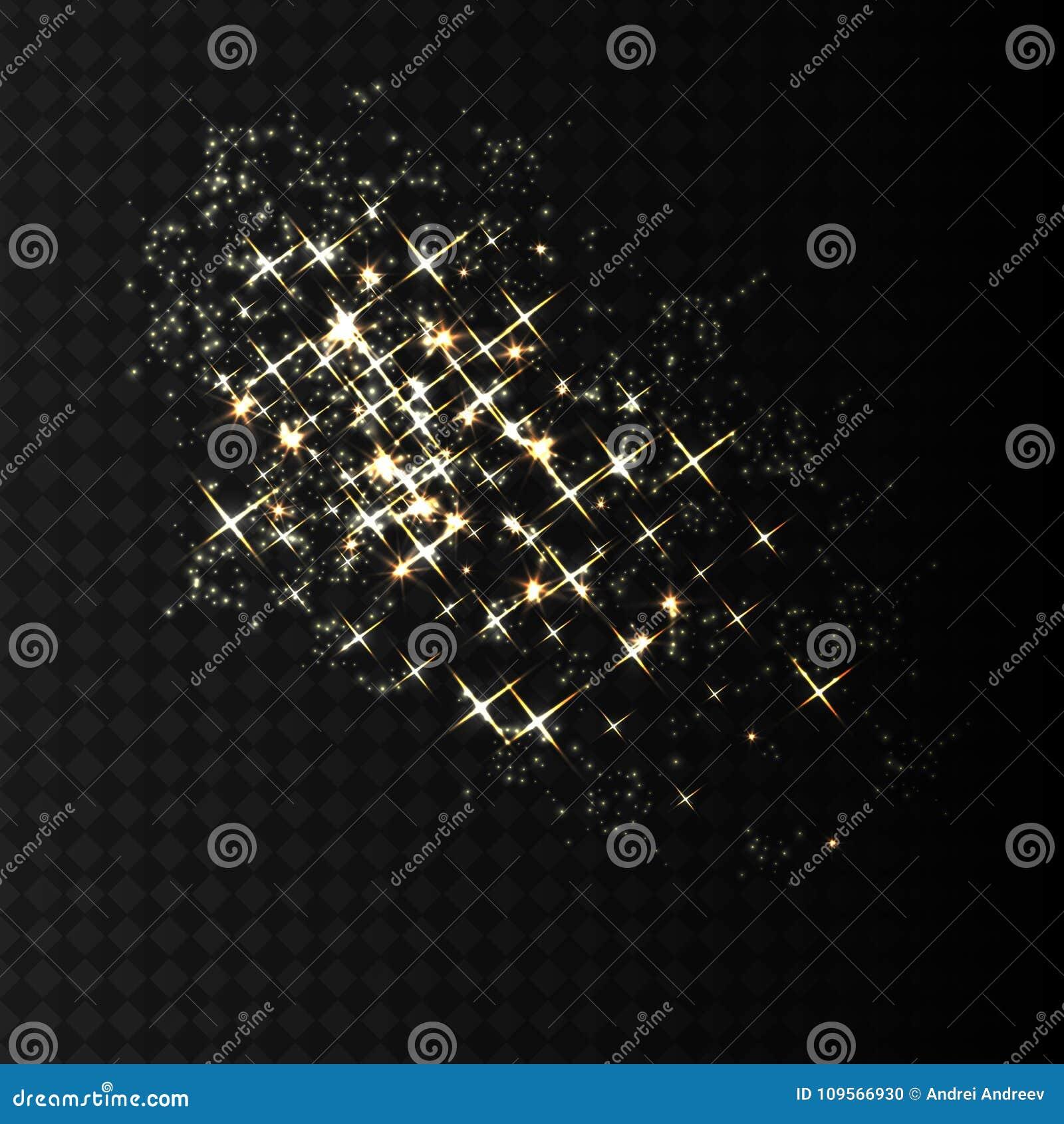 Χρυσά σπινθηρίσματα και ακτινοβολώντας ψεκασμός σκονών Το σπινθήρισμα ακτινοβολεί έκρηξη μορίων στο διανυσματικό μαύρο διαφανές υ