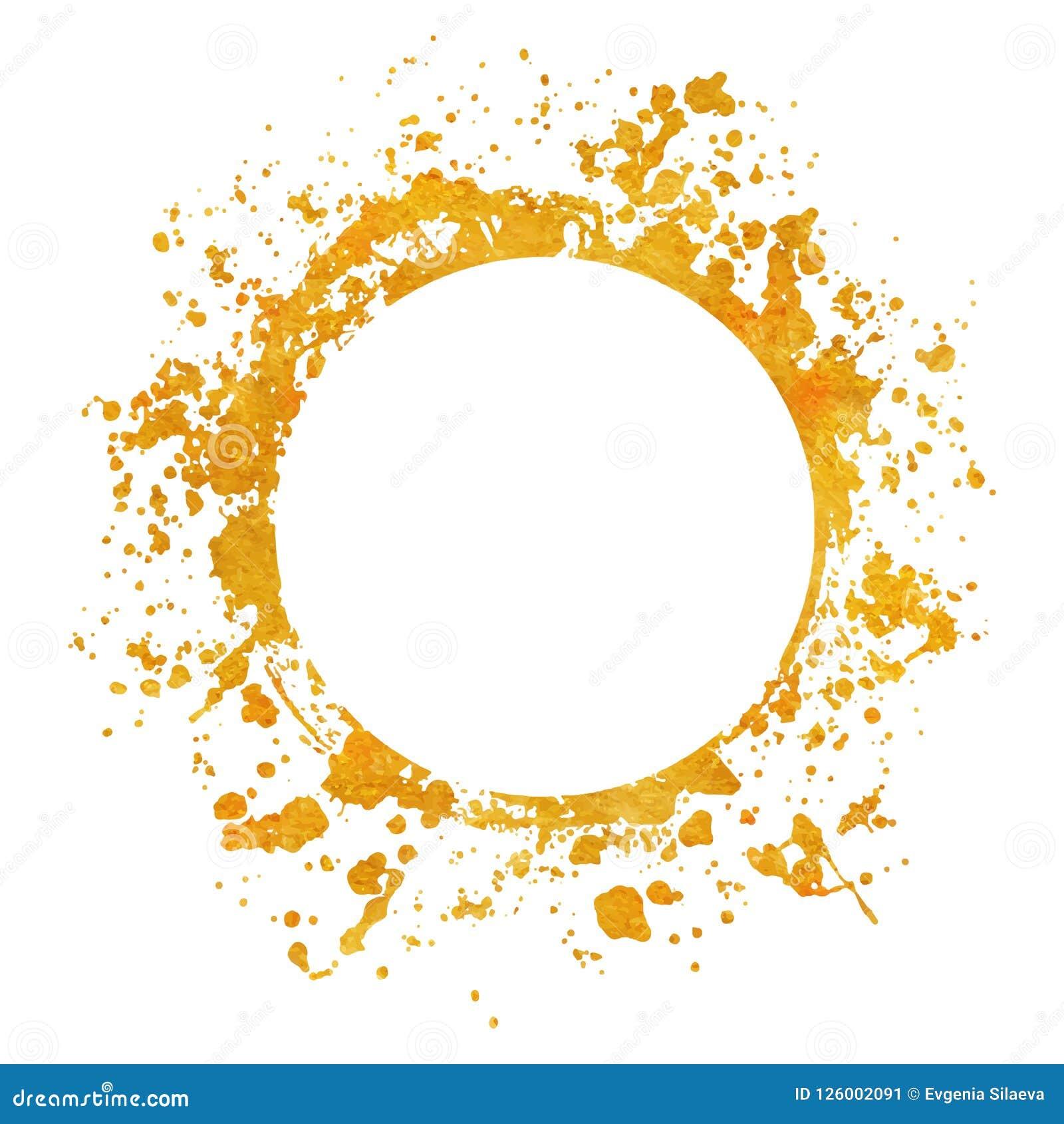 Χρυσά στρογγυλά χρώματα υποβάθρων πλαισίων Splatter που τίθενται με το χρυσό παφλασμό στο λευκό