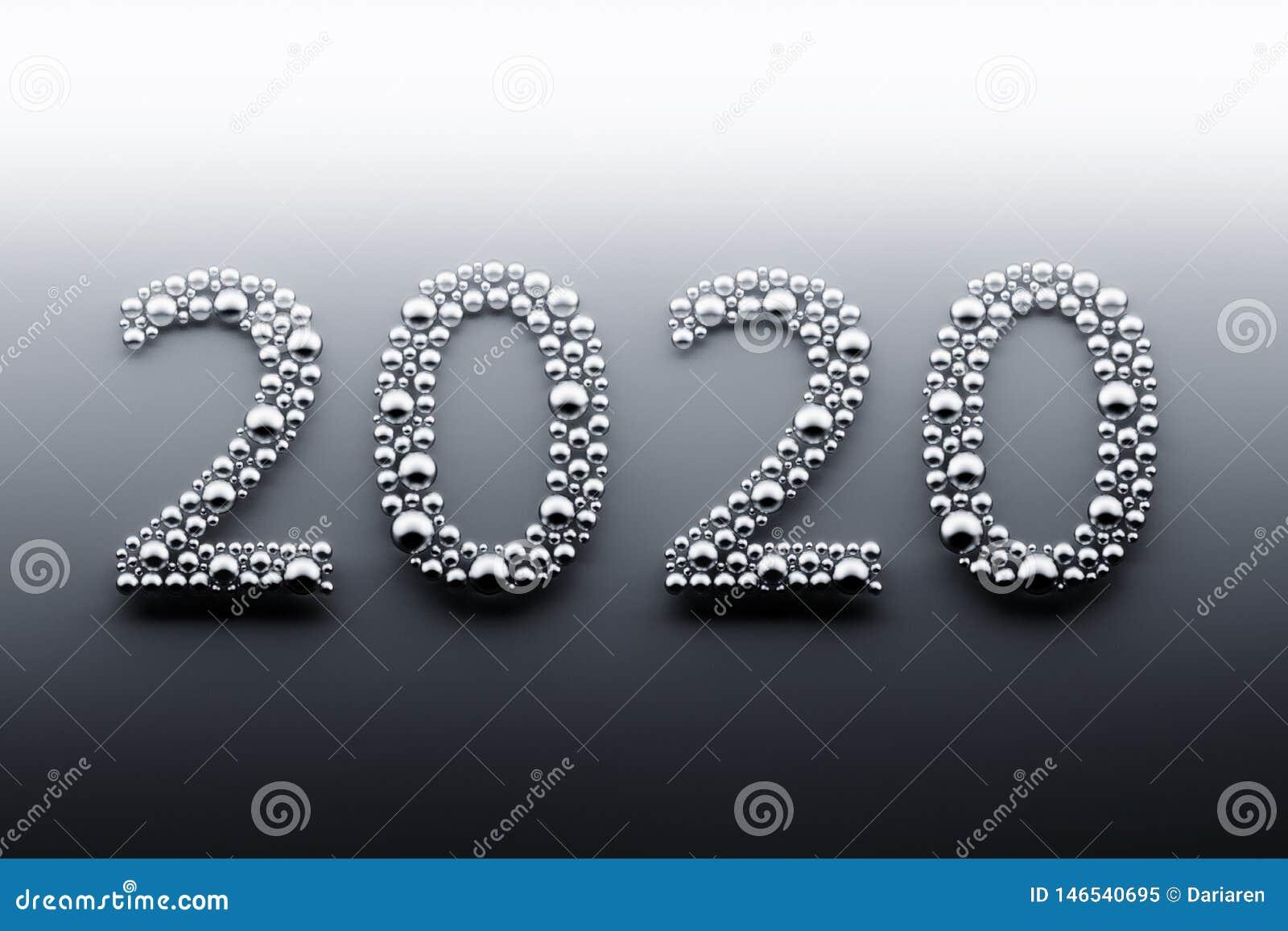 Χρυσά 2020 ψηφία φιαγμένα από σφαίρες
