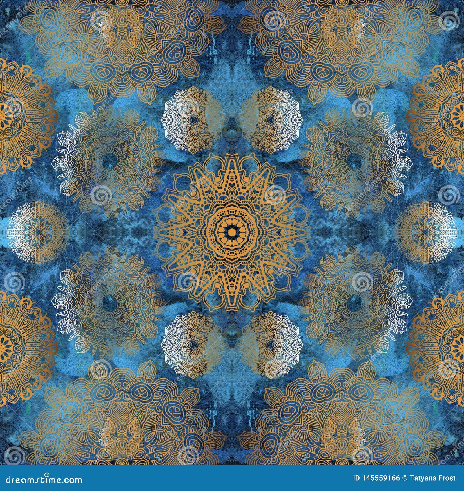 Χρυσά mandalas στον μπλε τοίχο
