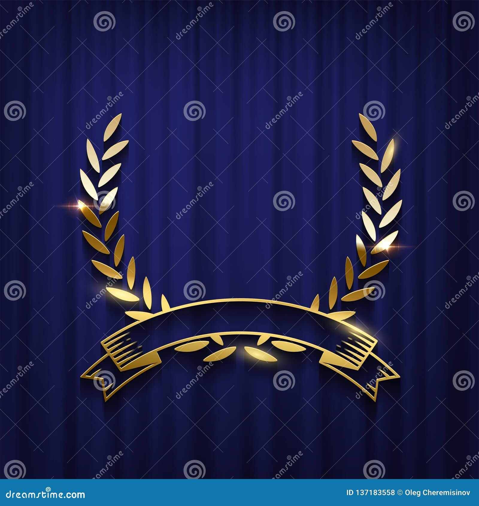 Χρυσές στεφάνι και κορδέλλα δαφνών που απομονώνονται στο μπλε υπόβαθρο κουρτινών Διανυσματικό πρότυπο αφισών τελετής βραβεύσεωης
