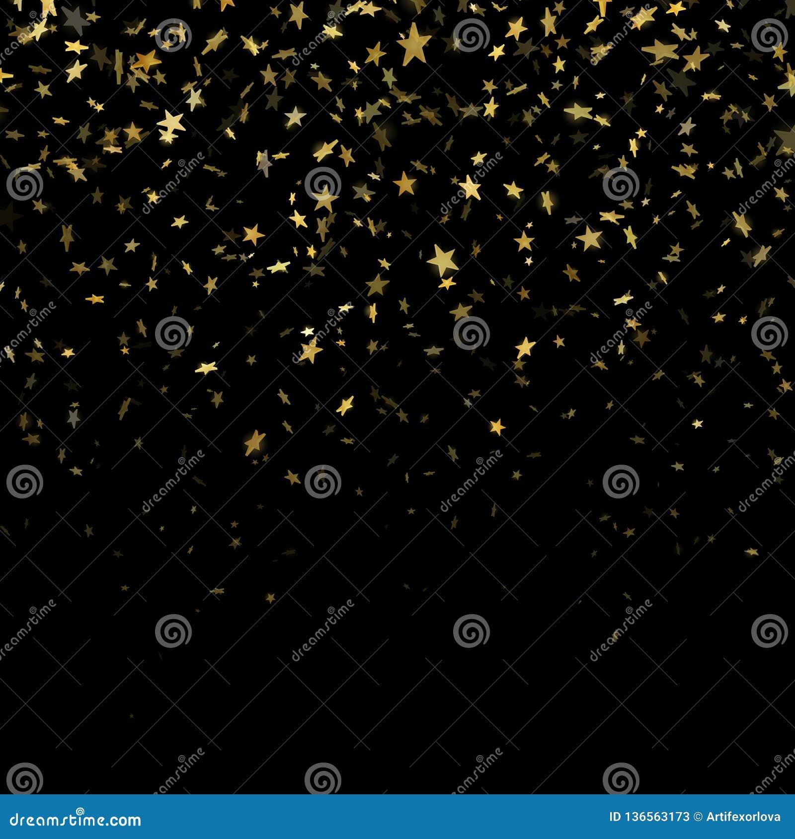 Χρυσή αστεριών κομφετί επίδραση σχεδίων βροχής εορταστική Χρυσά αστέρια όγκου που πέφτουν κάτω από απομονωμένος στο μαύρο υπόβαθρ