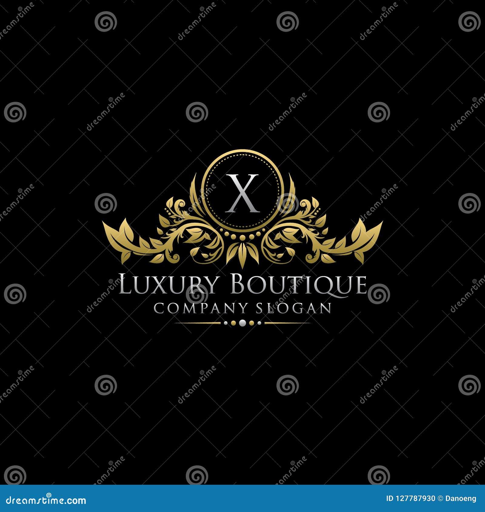 Χρυσή βασιλική μπουτίκ Χ πολυτέλειας λογότυπο επιστολών