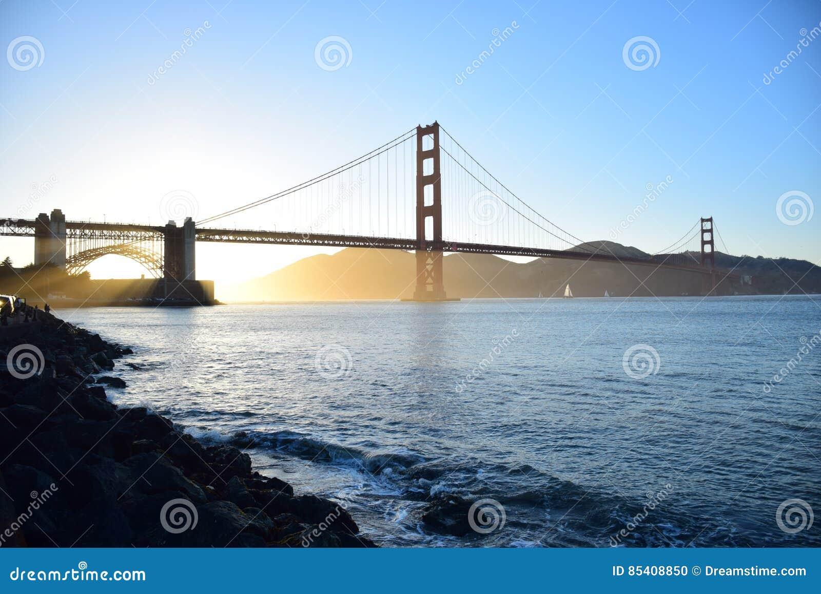 Χρυσή γέφυρα πυλών στο Σαν Φρανσίσκο στο ηλιοβασίλεμα