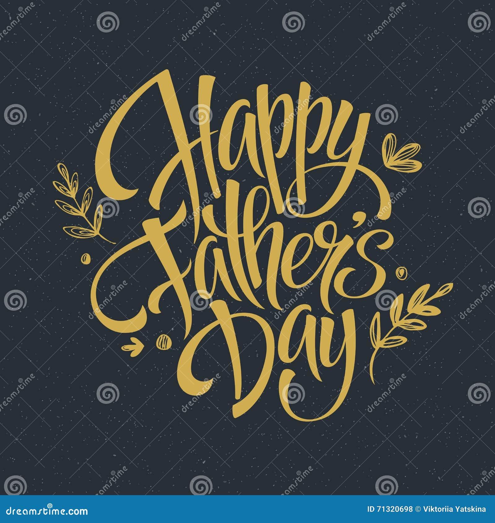 Χρυσή γράφοντας κάρτα ημέρας πατέρων Συρμένη χέρι καλλιγραφία επίσης corel σύρετε το διάνυσμα απεικόνισης