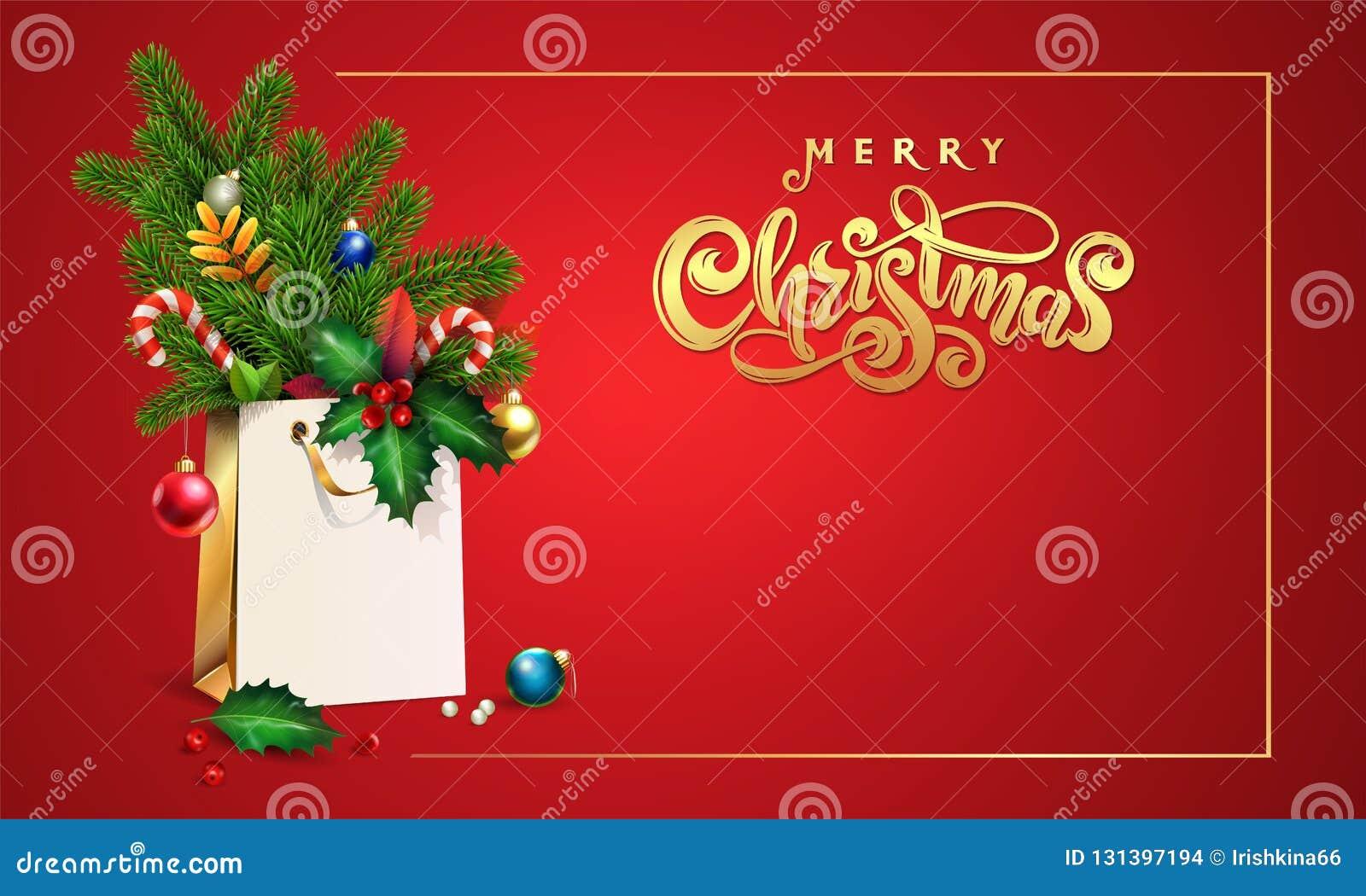Χρυσή διανυσματική συρμένη χέρι Χαρούμενα Χριστούγεννα κειμένων εγγραφής τρισδιάστατη τσάντα αγορών, ερυθρελάτες, κλάδοι έλατου,