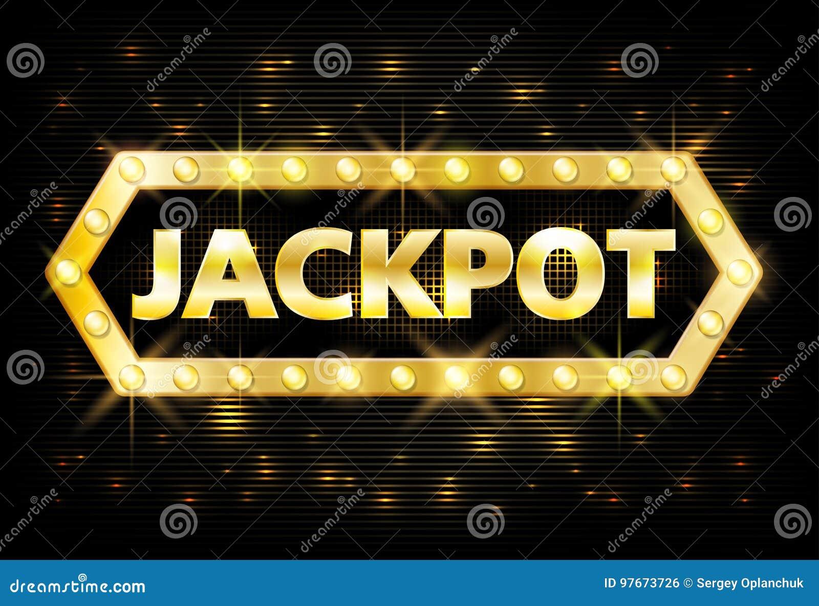 Χρυσή ετικέτα λότο χαρτοπαικτικών λεσχών τζακ ποτ με τους καμμένος λαμπτήρες στο μαύρο υπόβαθρο Τυχερό παιχνίδι σχεδίου νικητών τ
