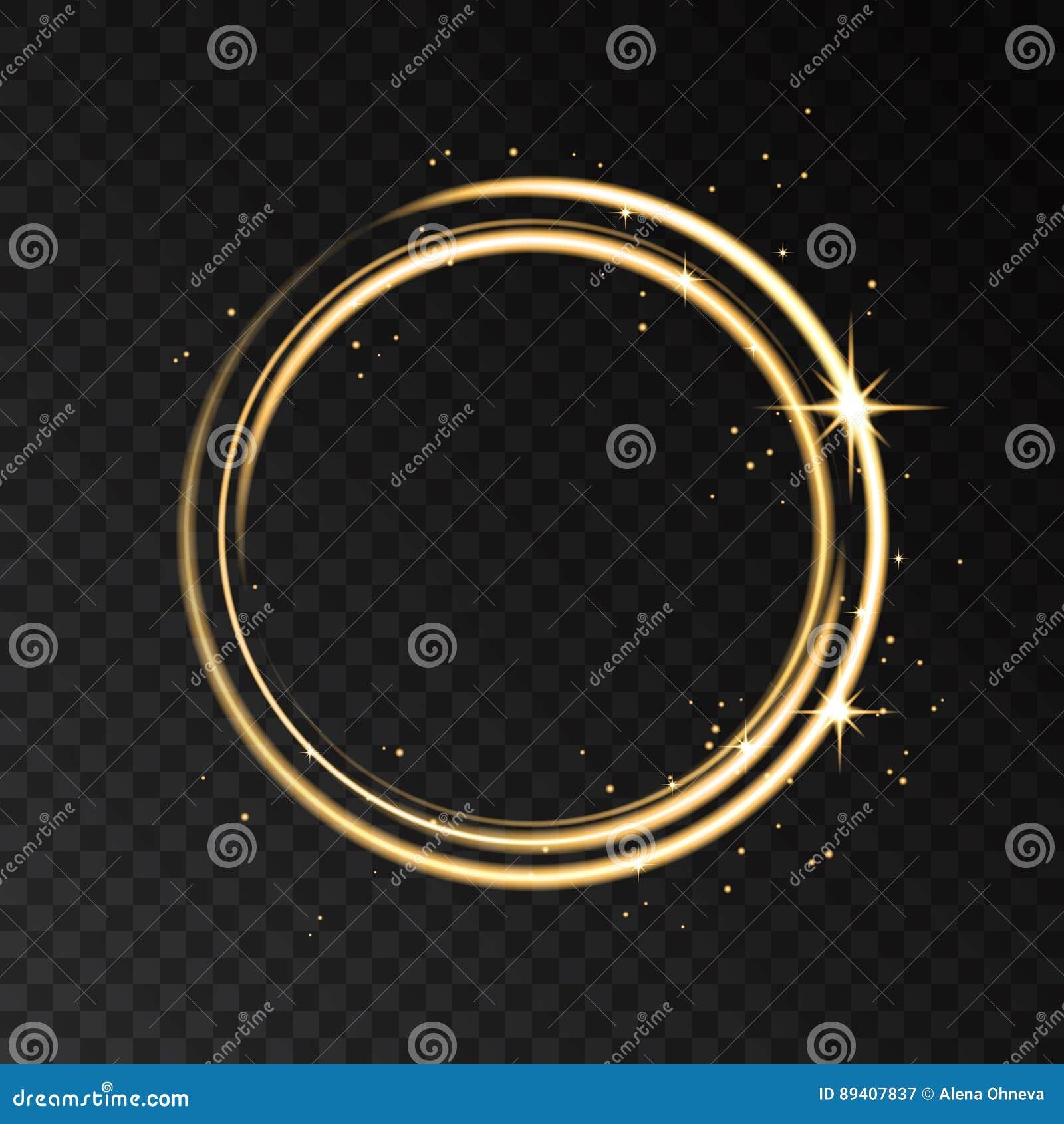 Χρυσή ελαφριά επίδραση κύκλων νέου που απομονώνεται στο μαύρο διαφανές BA