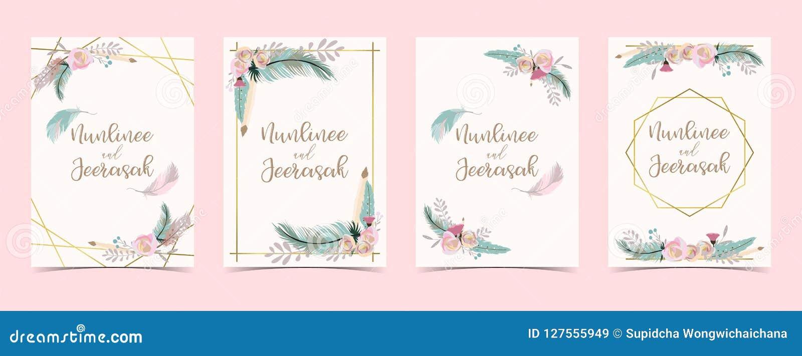 Χρυσή κάρτα γαμήλιας πρόσκλησης γεωμετρίας με το λουλούδι, φύλλο, κορδέλλα, wr
