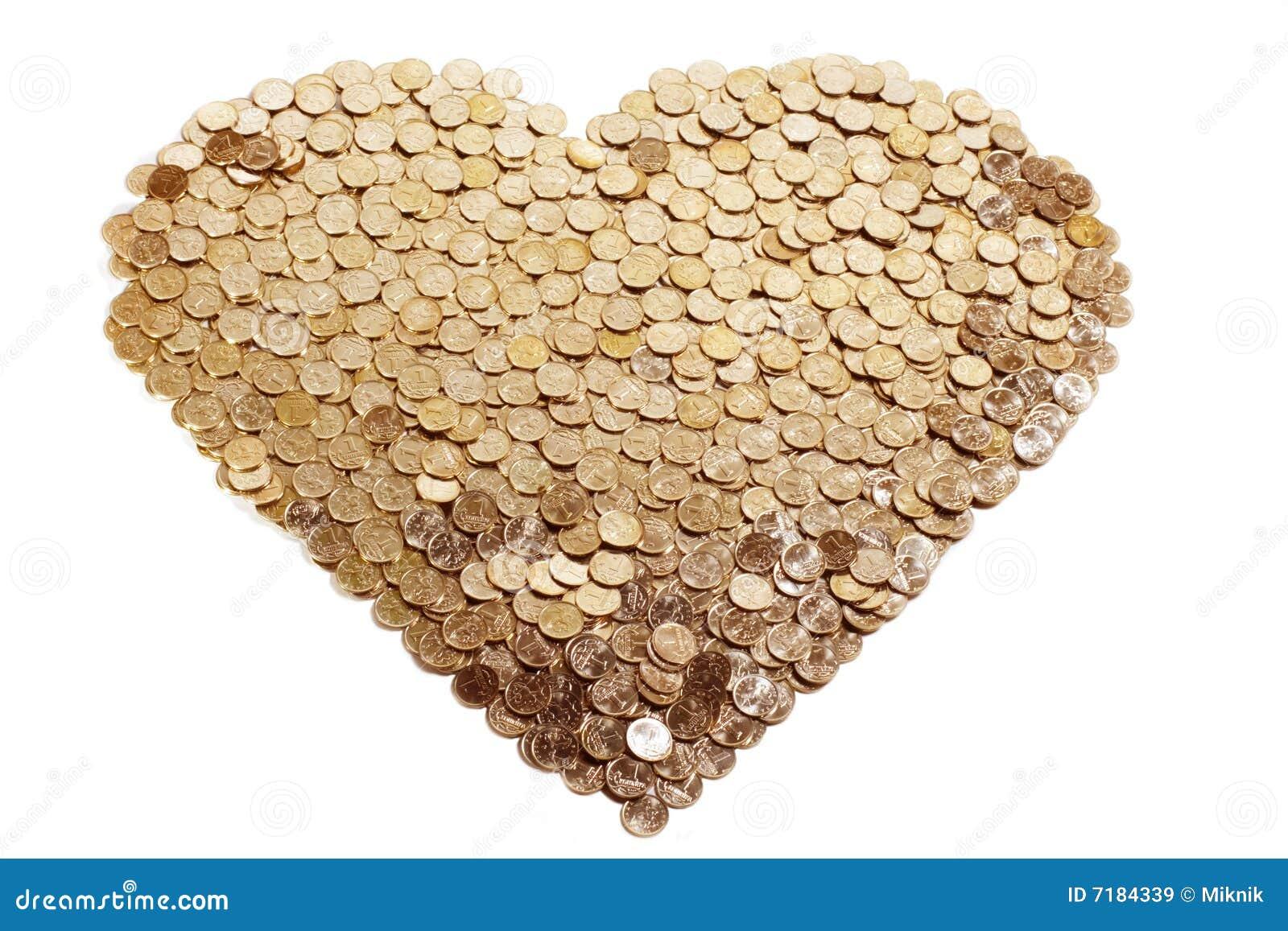 χρυσή καρδιά νομισμάτων