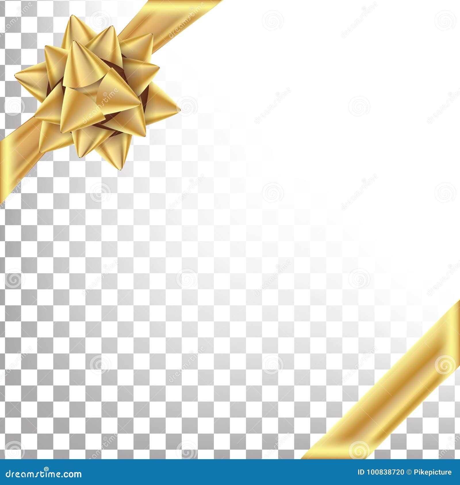 Χρυσή κορδέλλα με το διάνυσμα τόξων Διάστημα για το κείμενο Τύλιγμα δώρων για την αφίσα, σχέδιο καρτών Διαφανές υπόβαθρο διακοπών