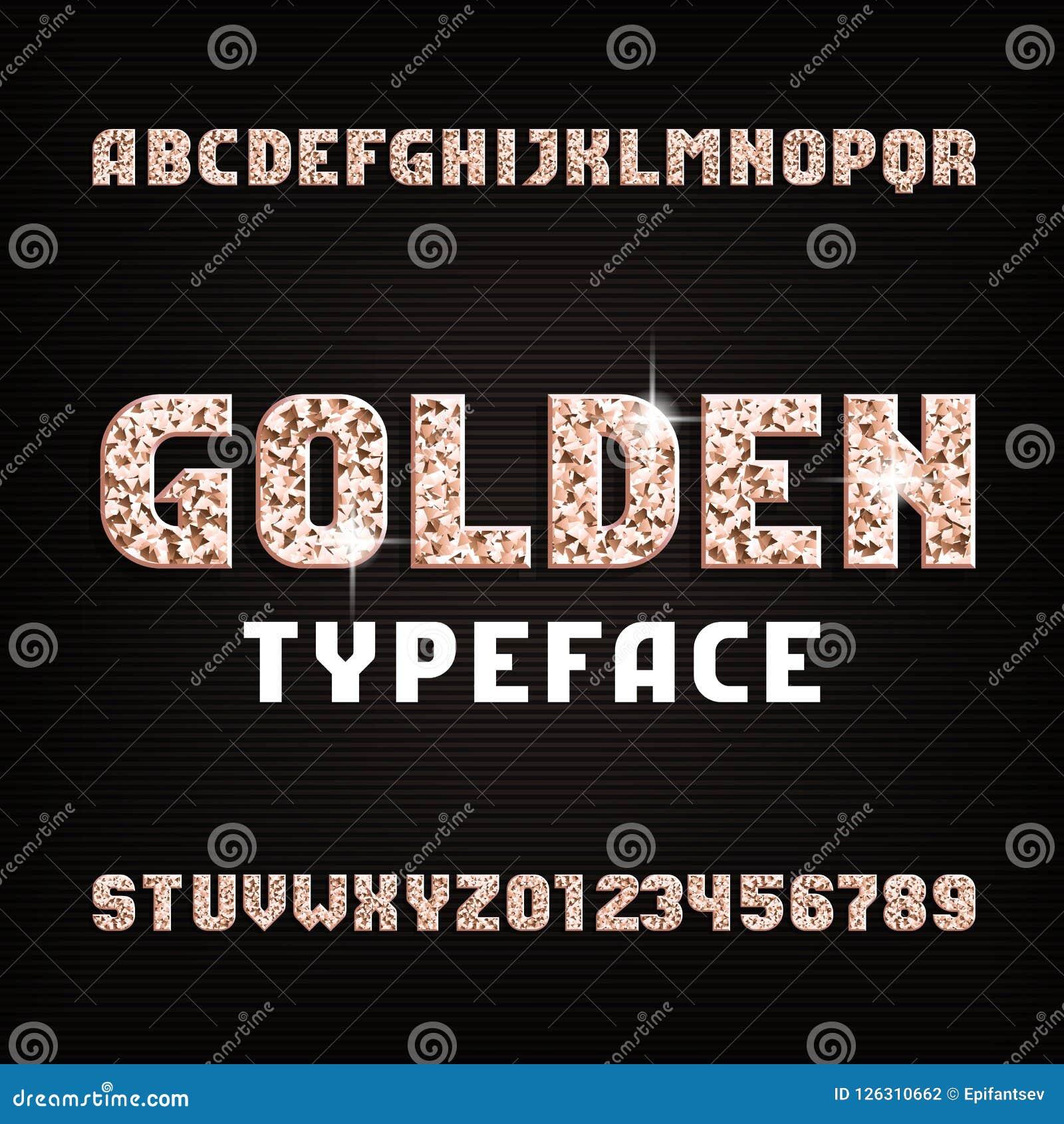 Χρυσή πηγή αλφάβητου Το μέταλλο ακτινοβολεί λαμπροί επιστολές και αριθμοί