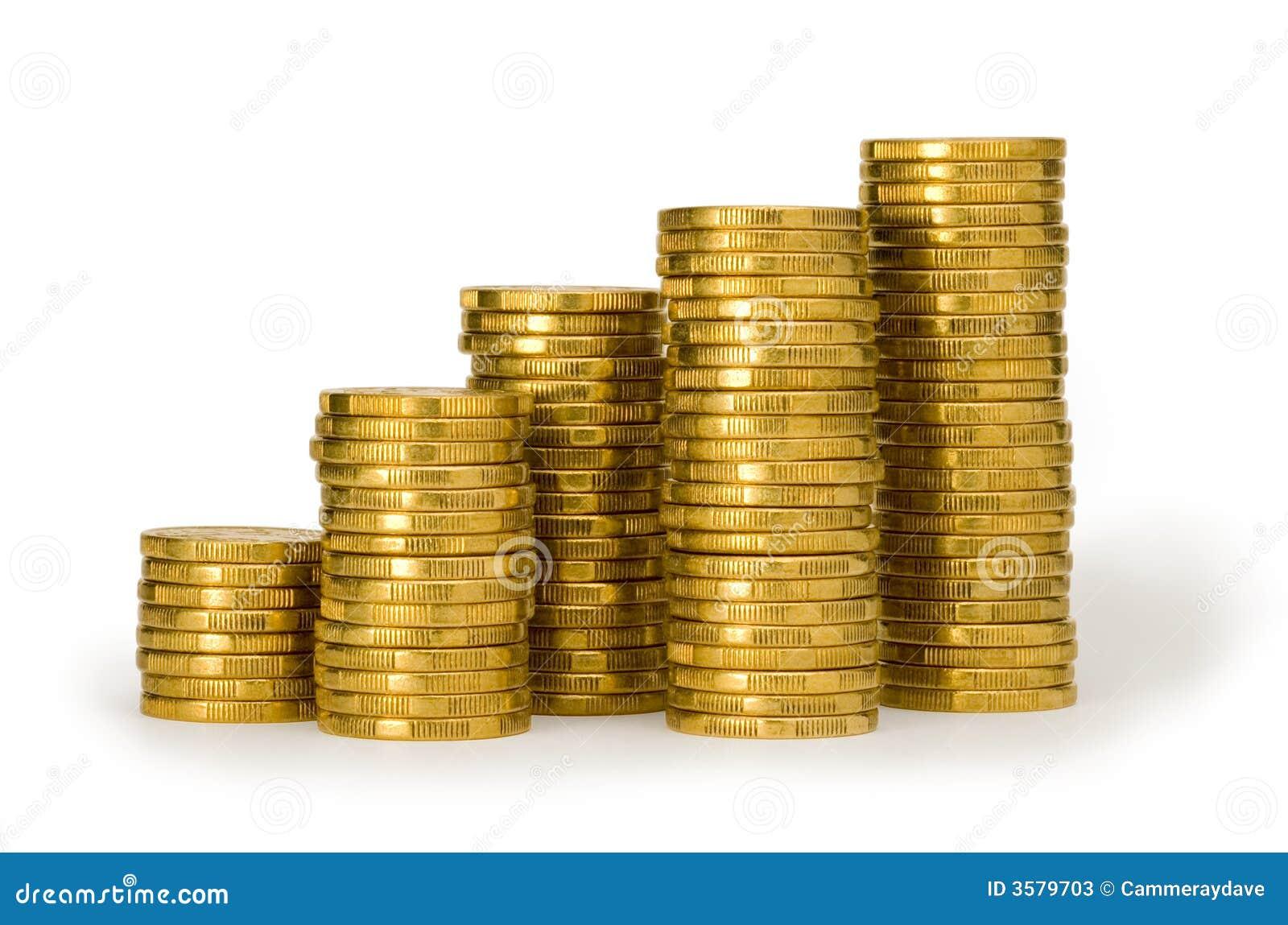 χρυσή στοίβα σωρών χρημάτων ν