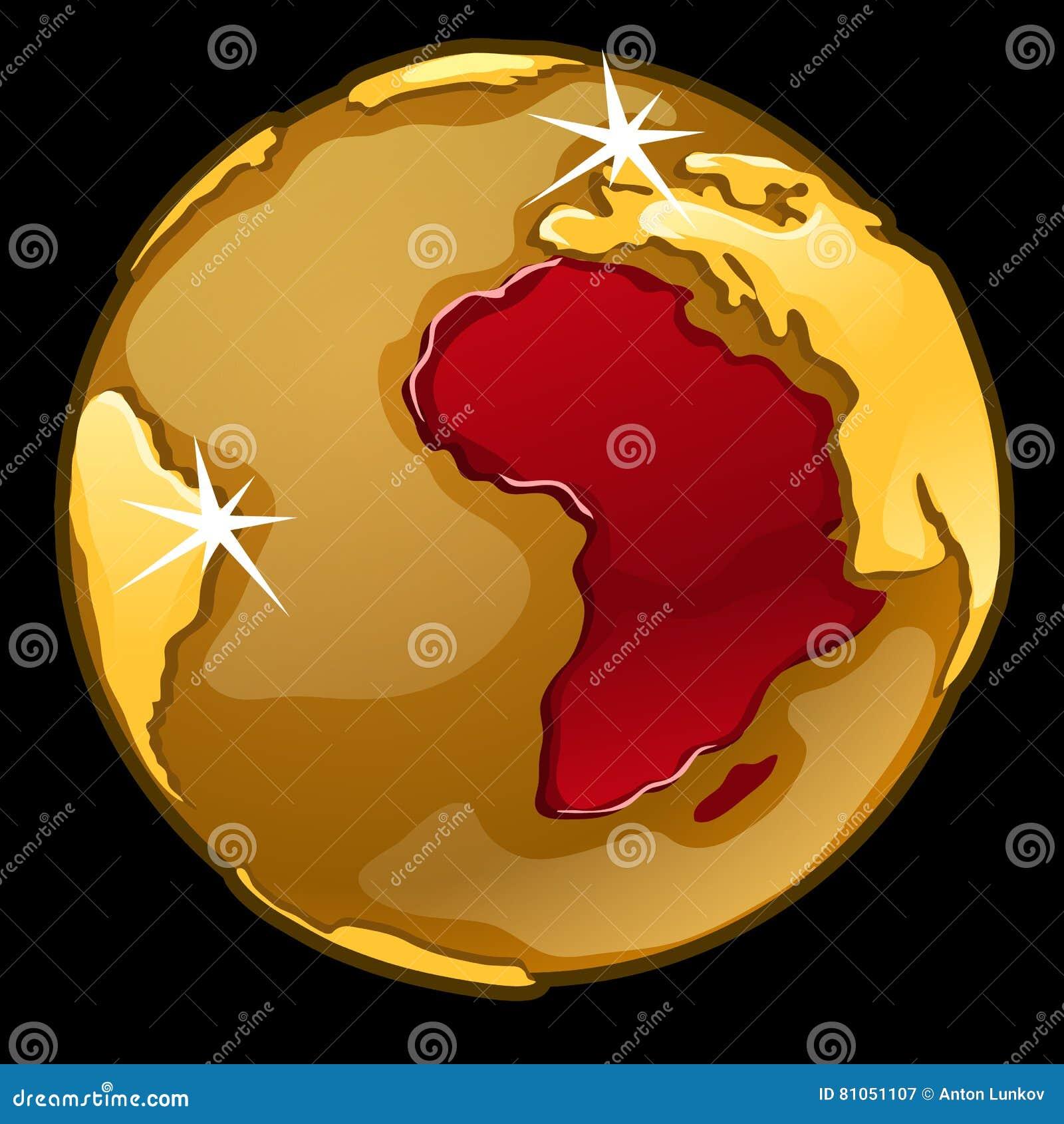 Χρυσή σφαίρα με χαρακτηρισμένος των χωρών της Αφρικής