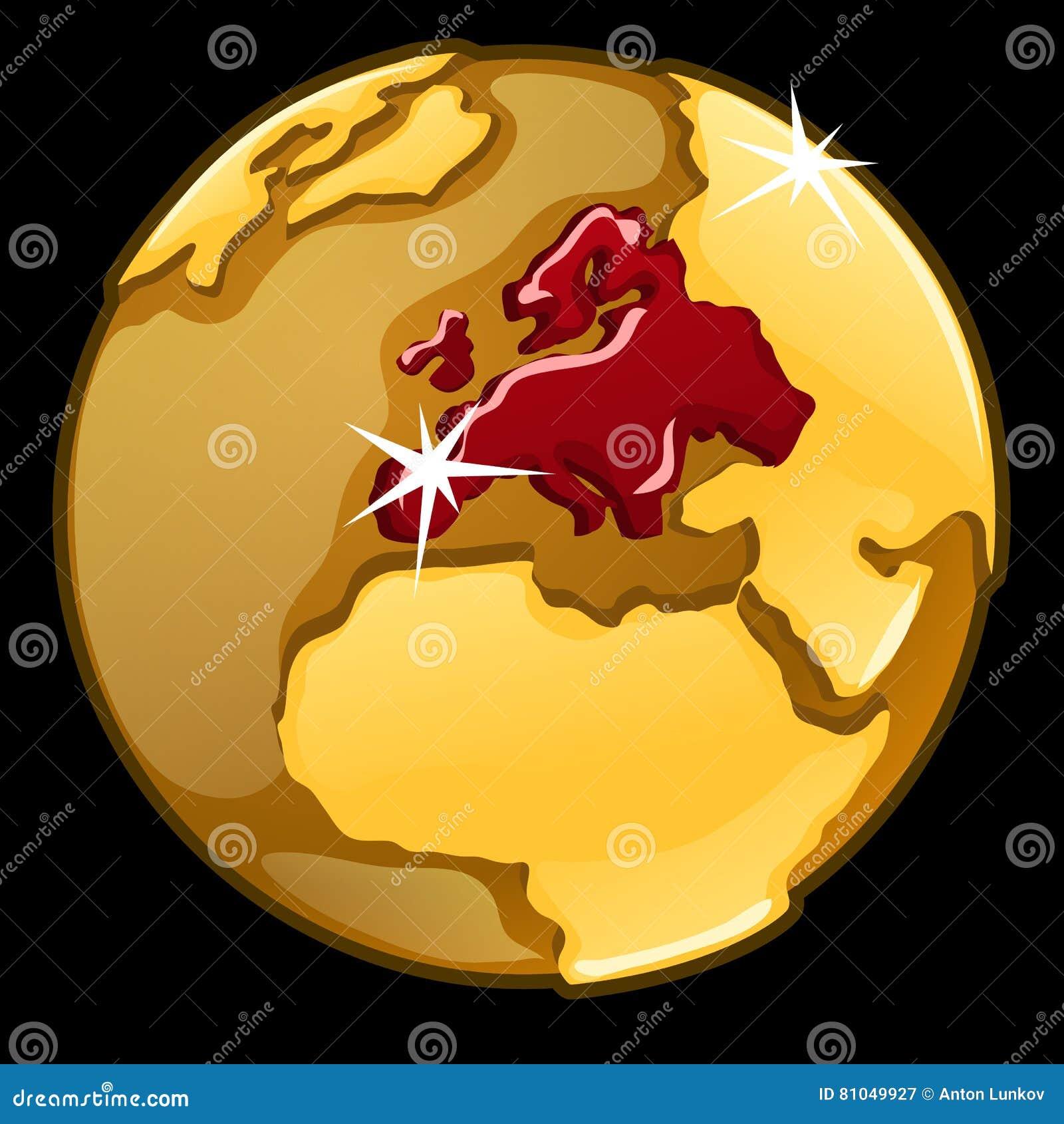Χρυσή σφαίρα με χαρακτηρισμένος των χωρών της Ευρώπης