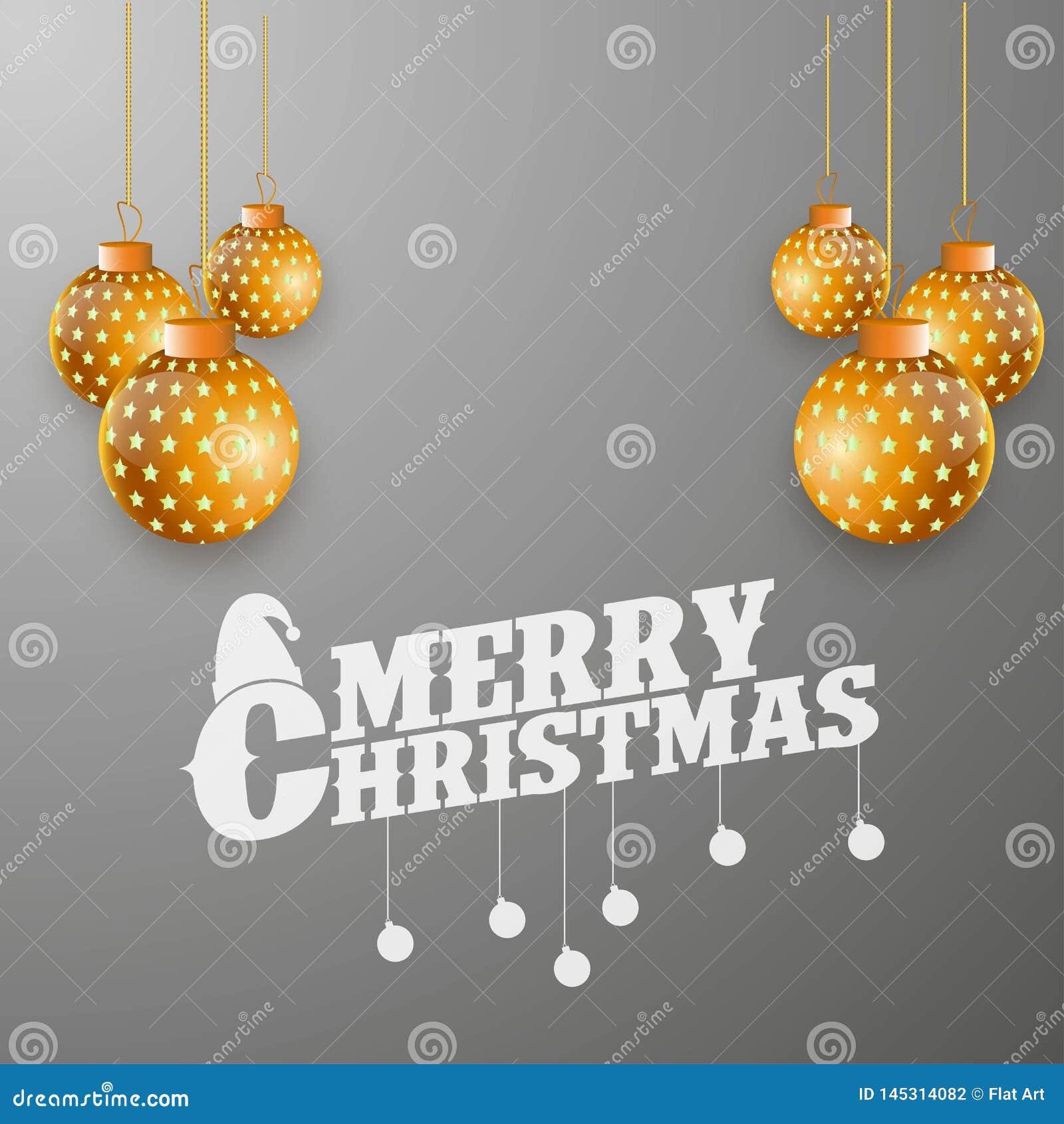 Χρυσή σφαίρα Χαρούμενα Χριστούγεννας στο γκρίζο υπόβαθρο