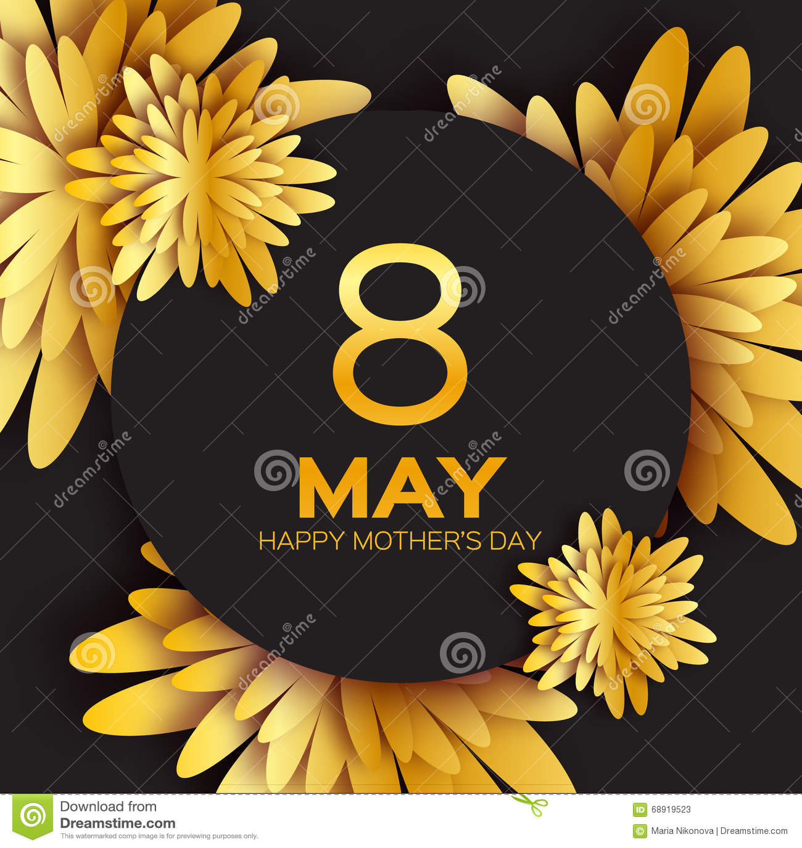 Χρυσή Floral ευχετήρια κάρτα φύλλων αλουμινίου - ημέρα της ευτυχούς μητέρας - 8 Μαΐου - ο χρυσός λαμπιρίζει διακοπές