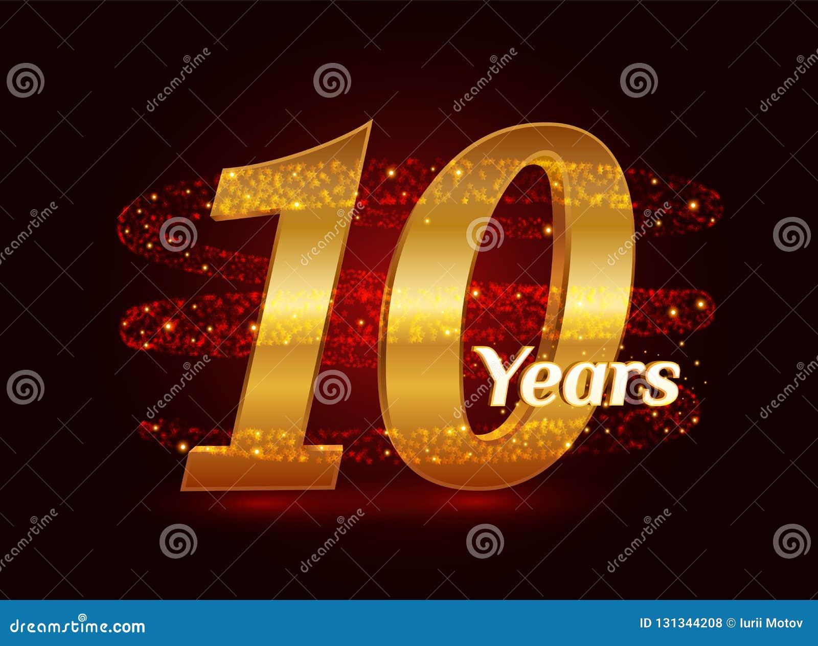 10 χρυσού επετείου τρισδιάστατου έτη εορτασμού λογότυπων με τα ακτινοβολώντας σπειροειδή λαμπιρίζοντας μόρια ιχνών σκόνης αστεριώ