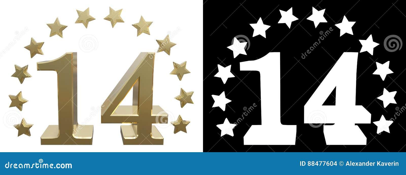 Χρυσός αριθμός δεκατέσσερα, που διακοσμείται με έναν κύκλο των αστεριών τρισδιάστατη απεικόνιση