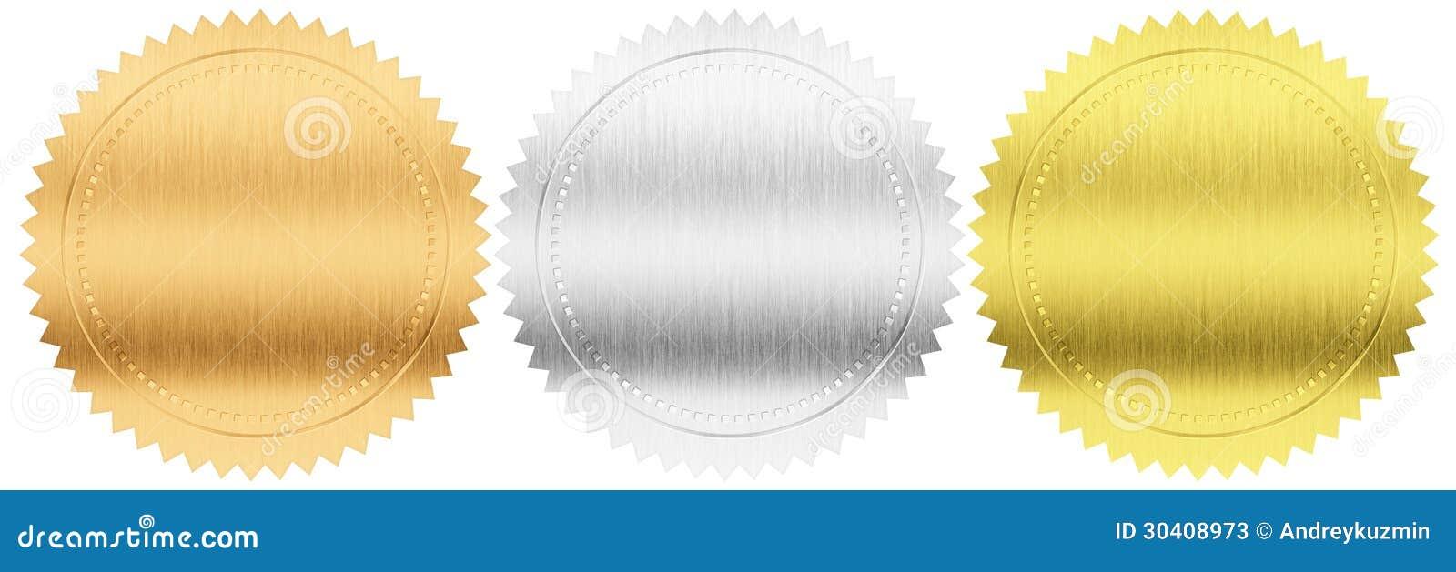 Χρυσός, ασήμι και σφραγίδες ή μετάλλια χαλκού καθορισμένα απομονωμένες