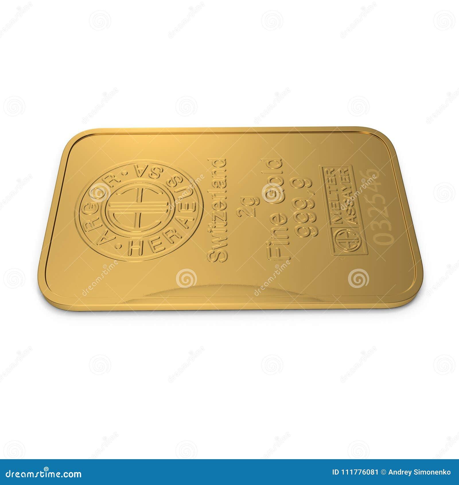 Χρυσός φραγμός 2g που απομονώνεται στο λευκό τρισδιάστατη απεικόνιση