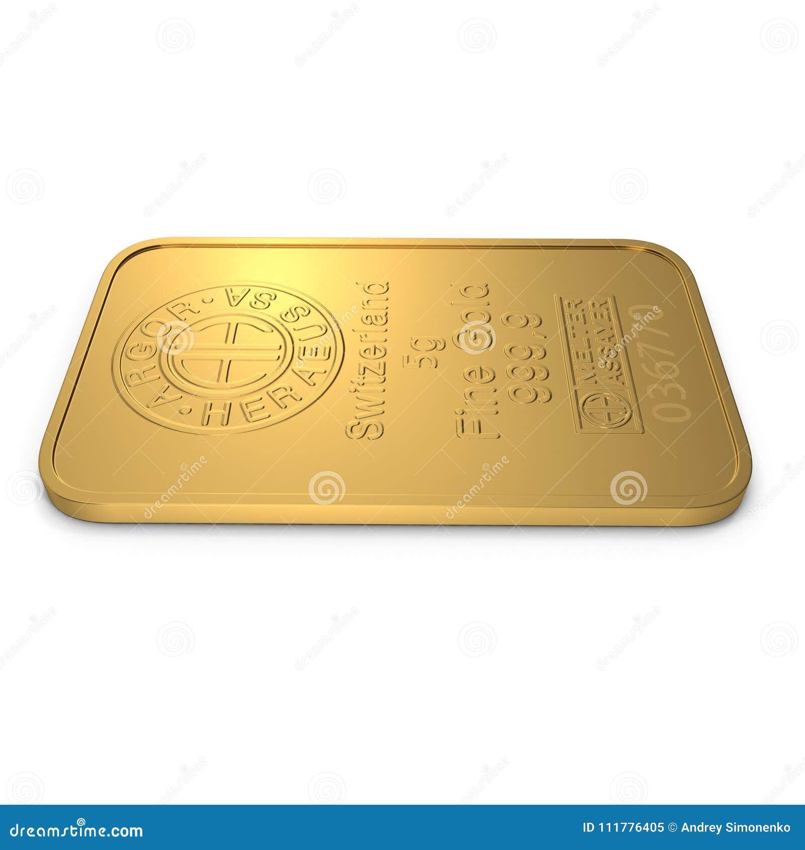 Χρυσός φραγμός 5g που απομονώνεται στο λευκό τρισδιάστατη απεικόνιση
