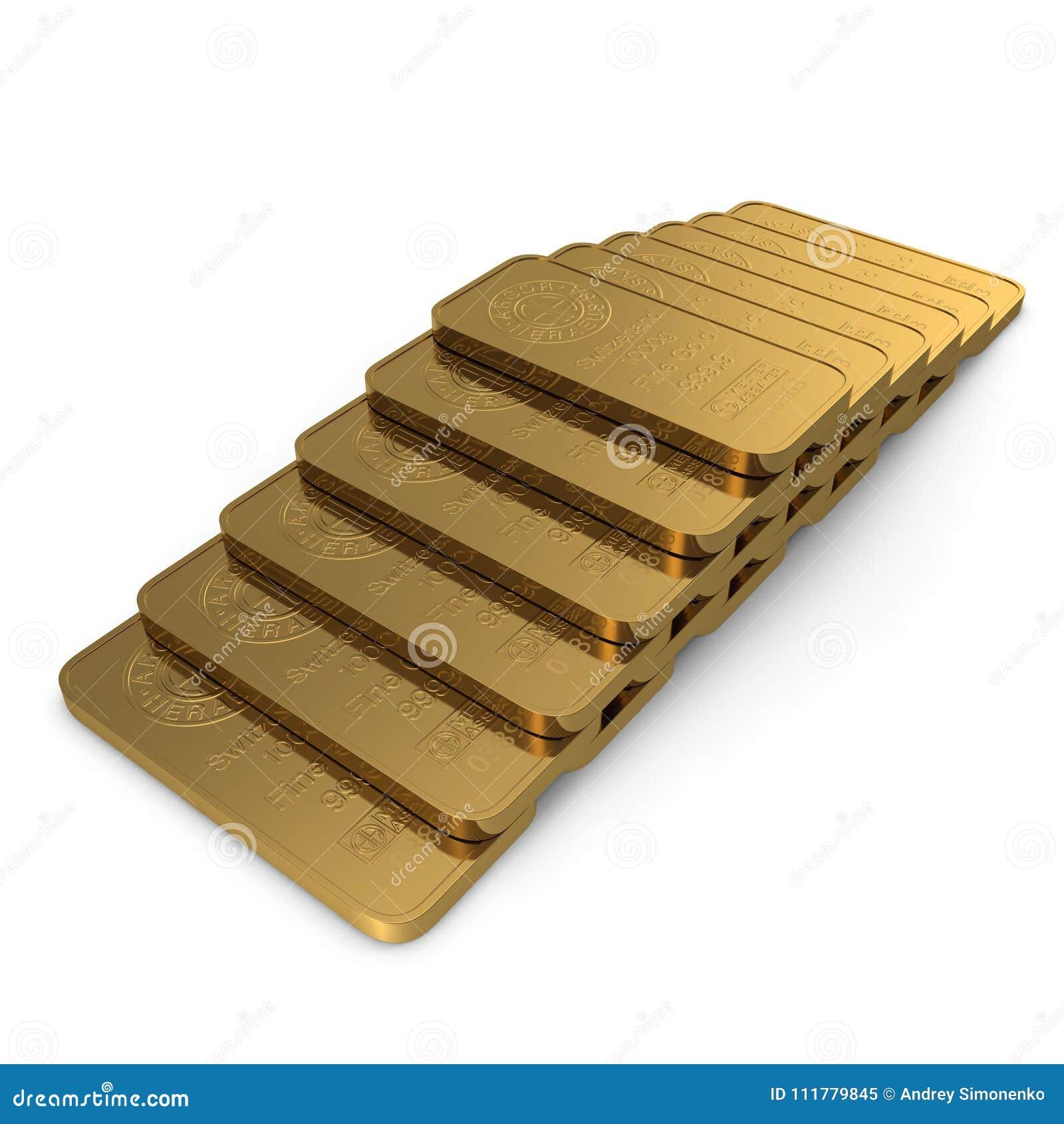 Χρυσός φραγμός 1000g που απομονώνεται στο λευκό τρισδιάστατη απεικόνιση