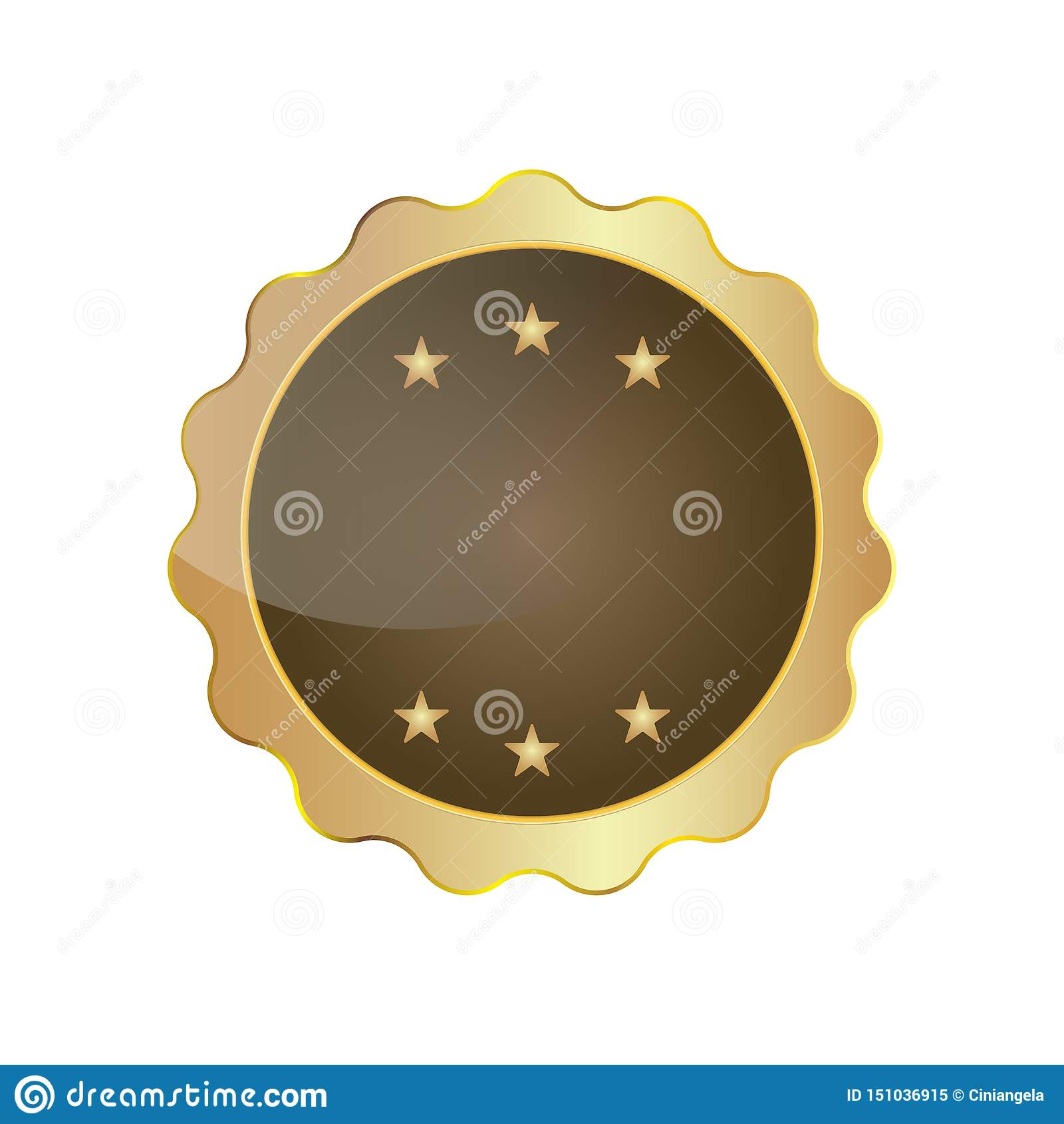 Χρυσό απομονωμένο κενό διάνυσμα κορδελλών διακριτικών σφραγίδων με τα αστέρια