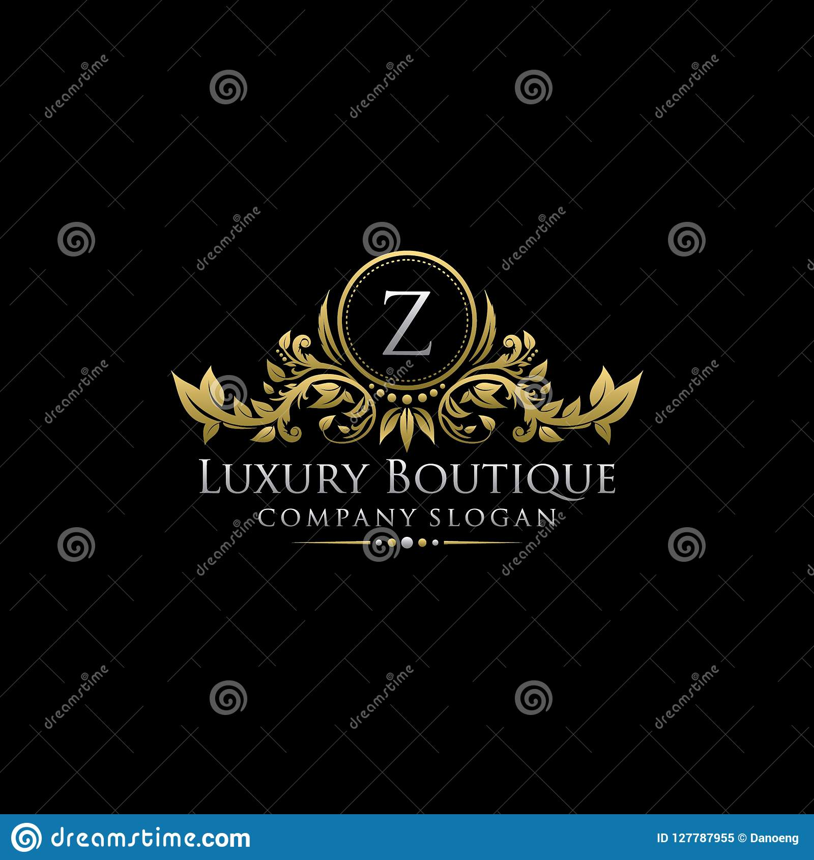 Χρυσό βασιλικό λογότυπο επιστολών μπουτίκ Ζ πολυτέλειας