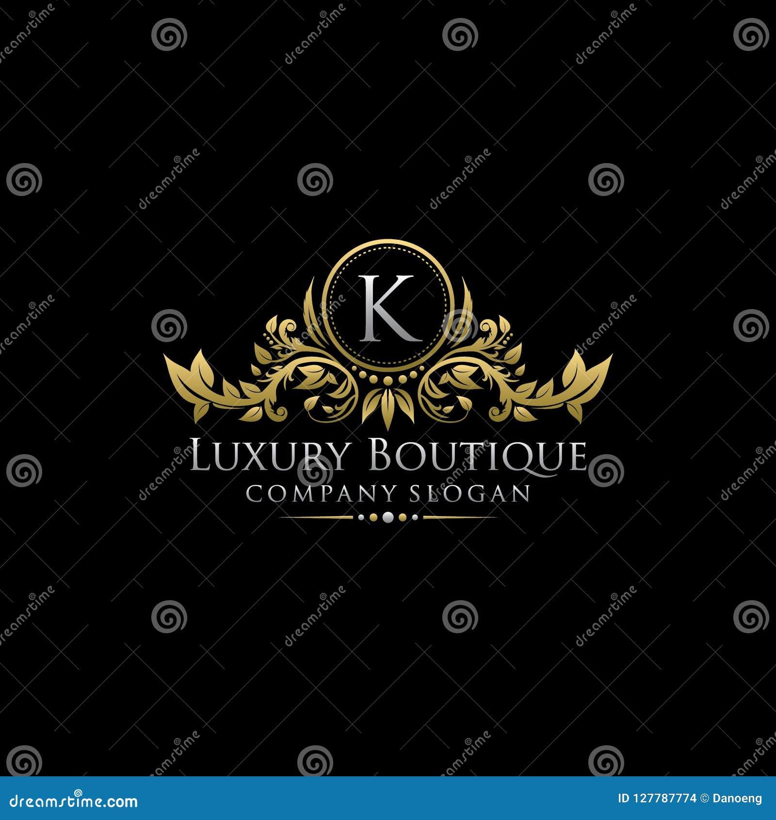 Χρυσό βασιλικό λογότυπο επιστολών μπουτίκ Κ πολυτέλειας