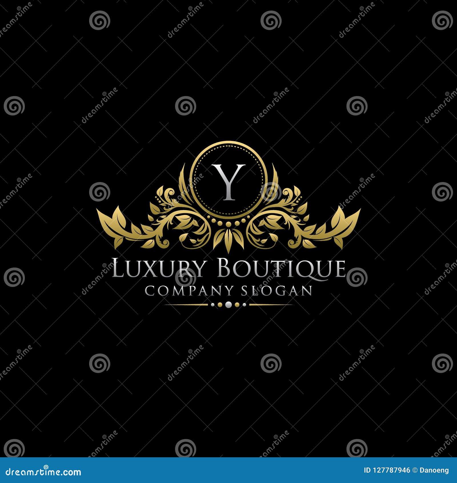 Χρυσό βασιλικό λογότυπο επιστολών μπουτίκ Υ πολυτέλειας
