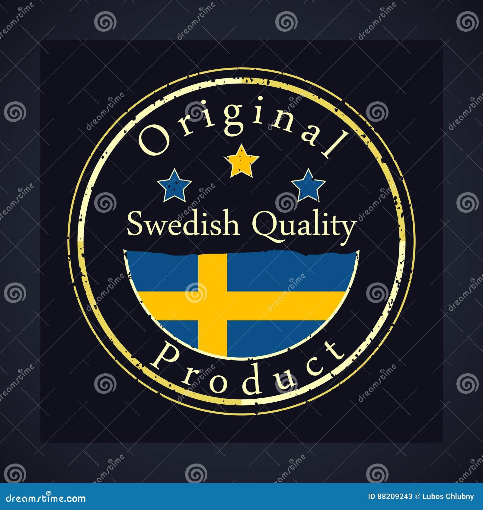 Χρυσό γραμματόσημο grunge με τη σουηδική ποιότητα κειμένων και το αρχικό προϊόν Η ετικέτα περιέχει τη σουηδική σημαία