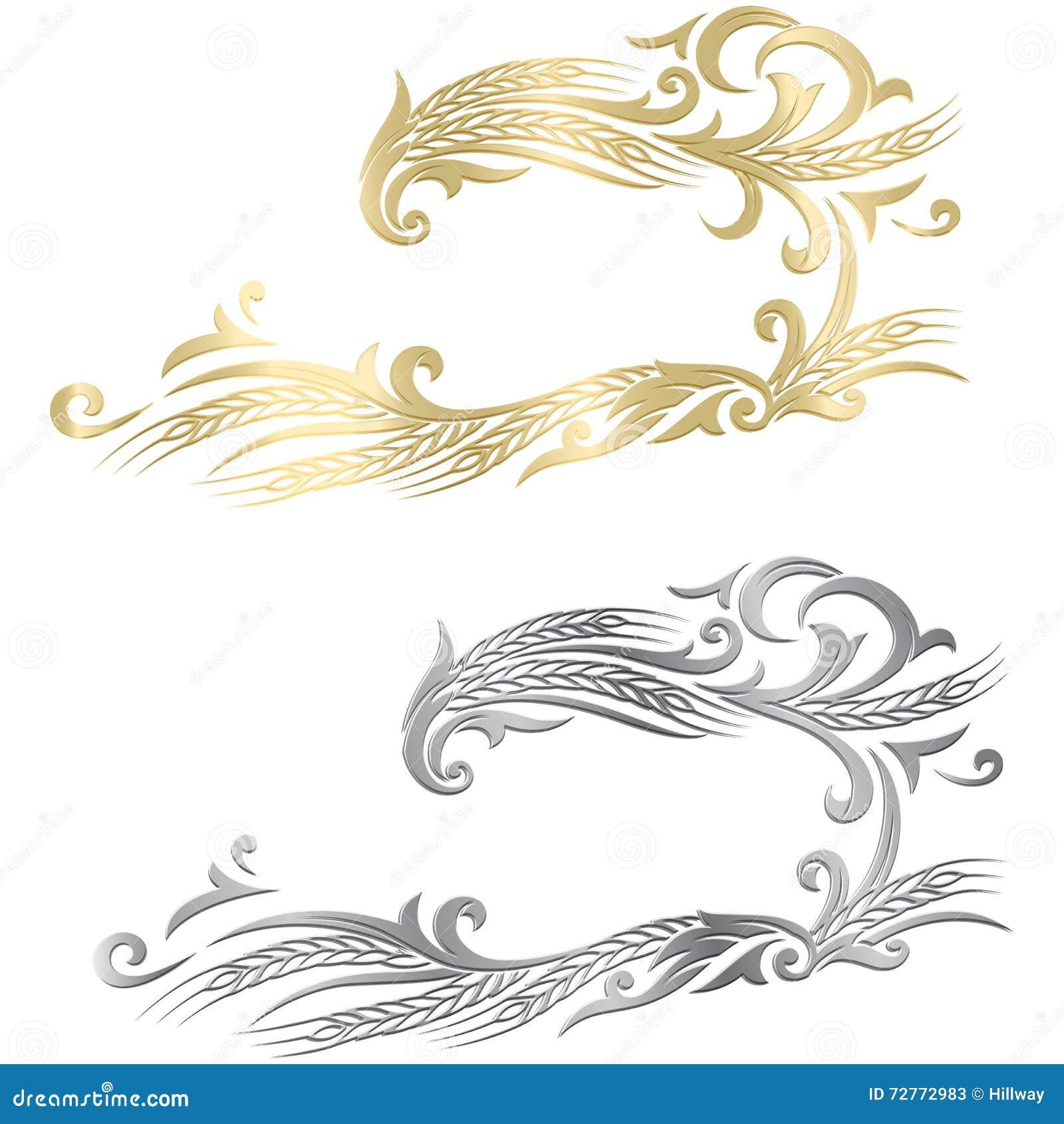 Χρυσό και ασημένιο ώριμο πλαίσιο αυτιών σίτου, σύνορα ή στοιχείο γωνιών