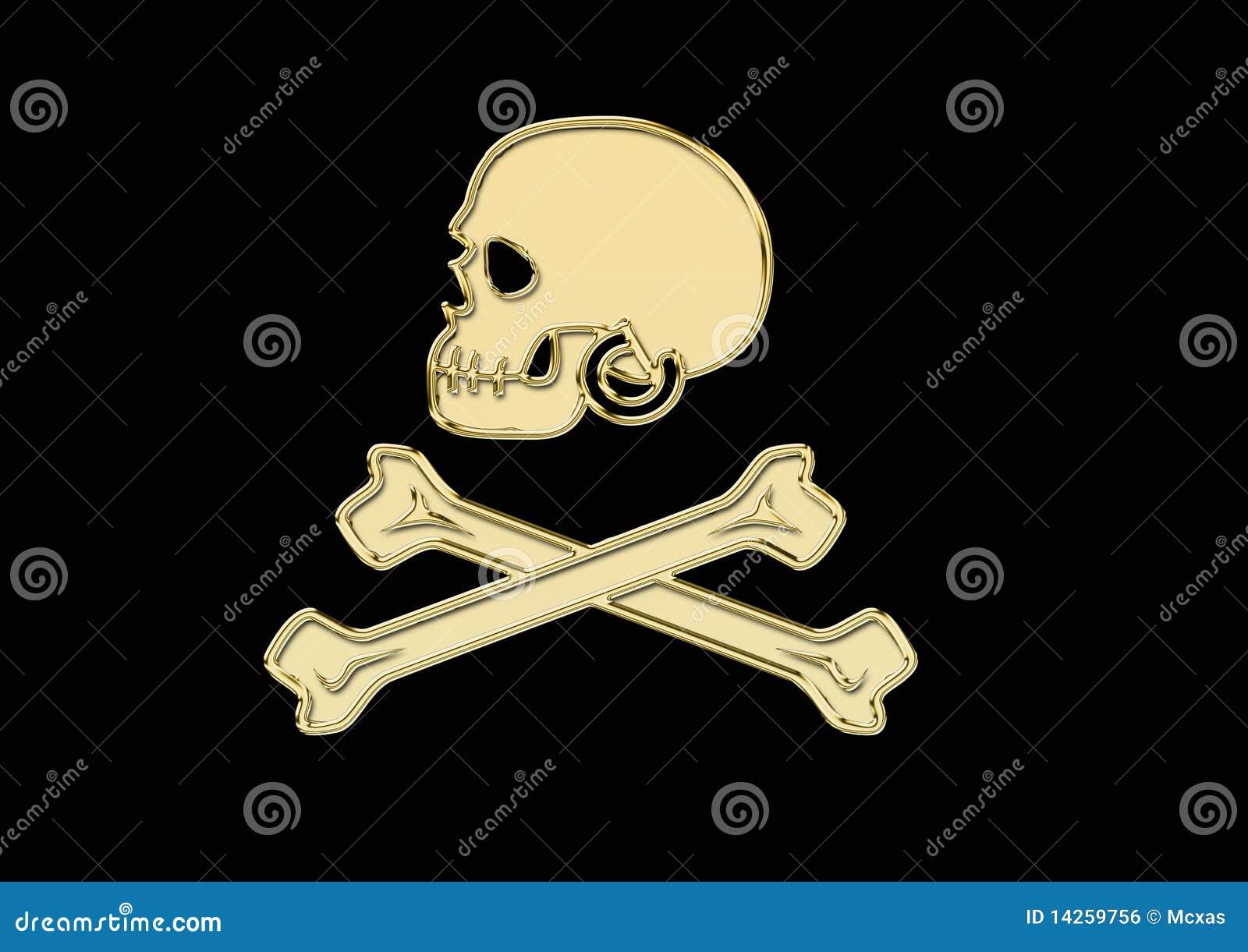 χρυσό κρανίο πειρατών σημα&io