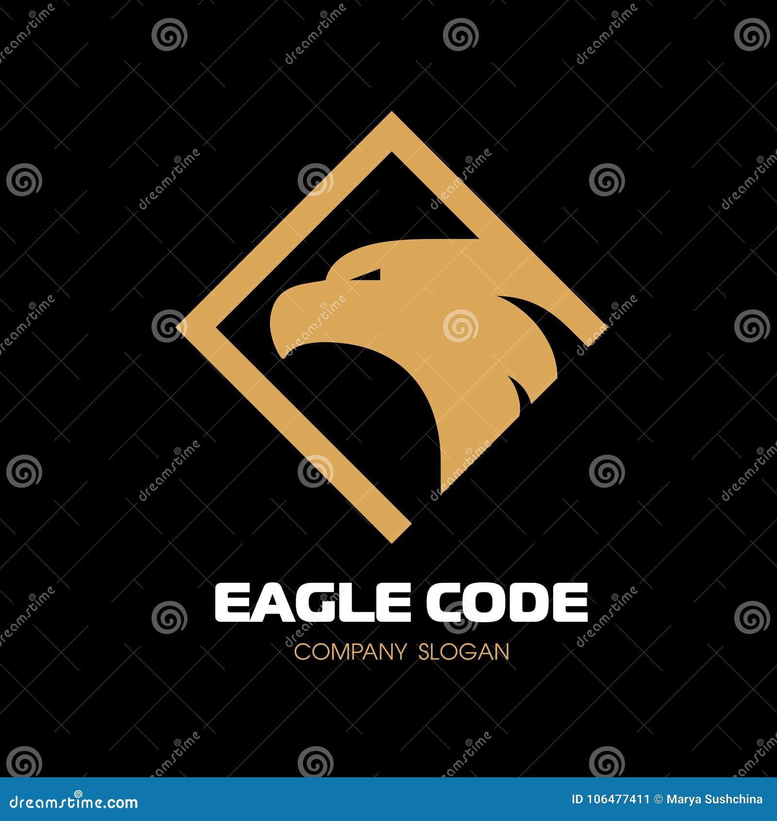 Χρυσό λογότυπο αετών Πουλί, Φοίνικας Το κεφάλι στο σχεδιάγραμμα Διανυσματικό πρότυπο λογότυπων