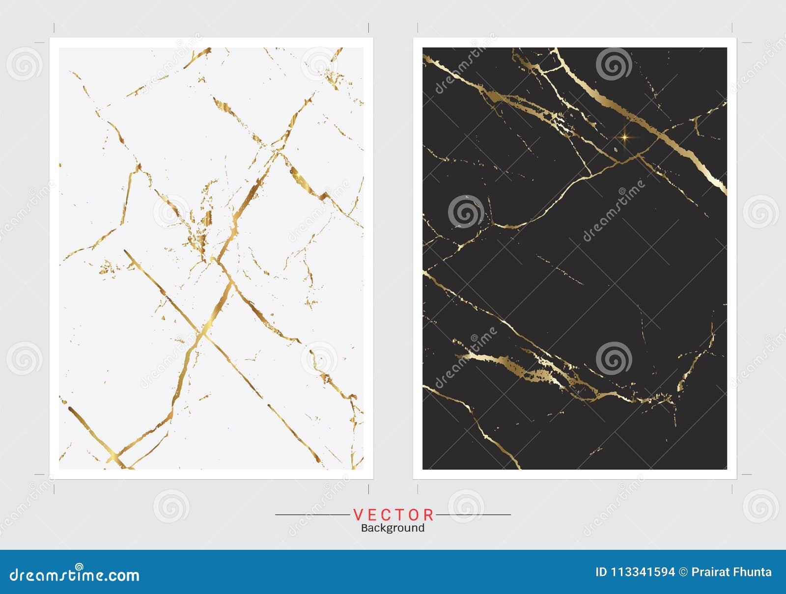 Χρυσό μαρμάρινο υπόβαθρο κάλυψης, διανυσματικό καθορισμένο πρότυπο