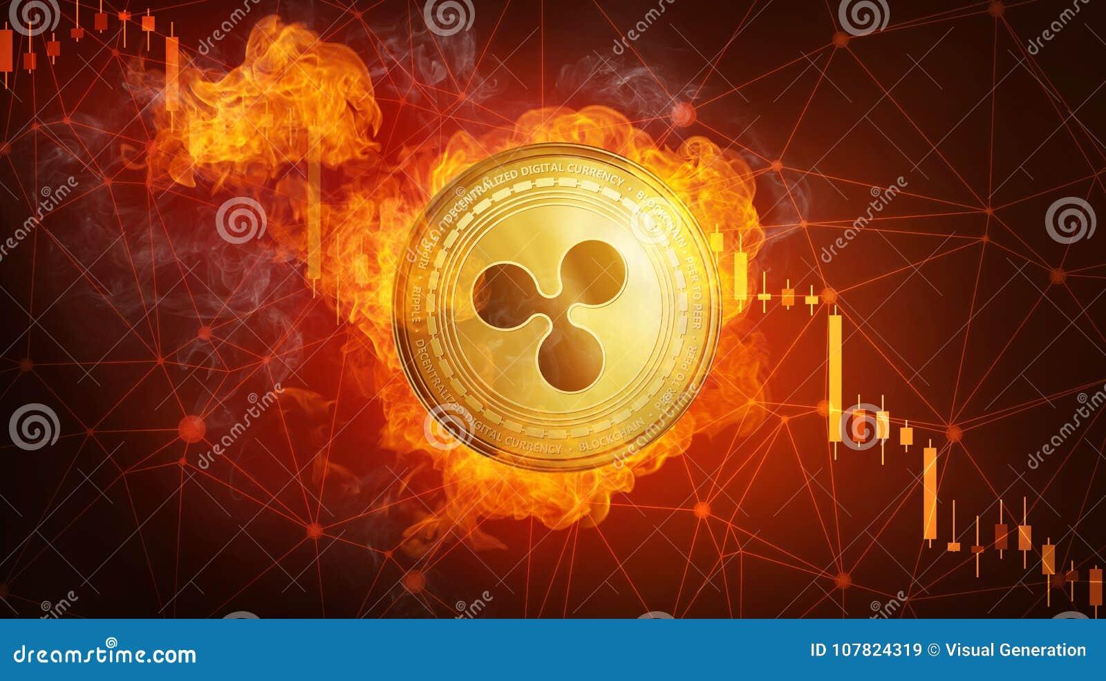 Χρυσό νόμισμα κυματισμών που εμπίπτει στη φλόγα πυρκαγιάς
