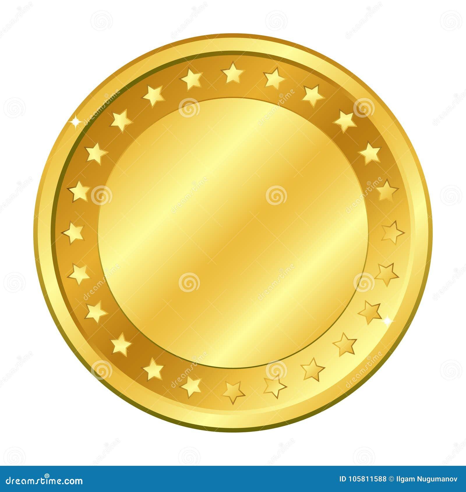 Χρυσό νόμισμα με τα αστέρια Διανυσματική απεικόνιση που απομονώνεται στην άσπρη ανασκόπηση Στοιχεία και έντονο φως Editable