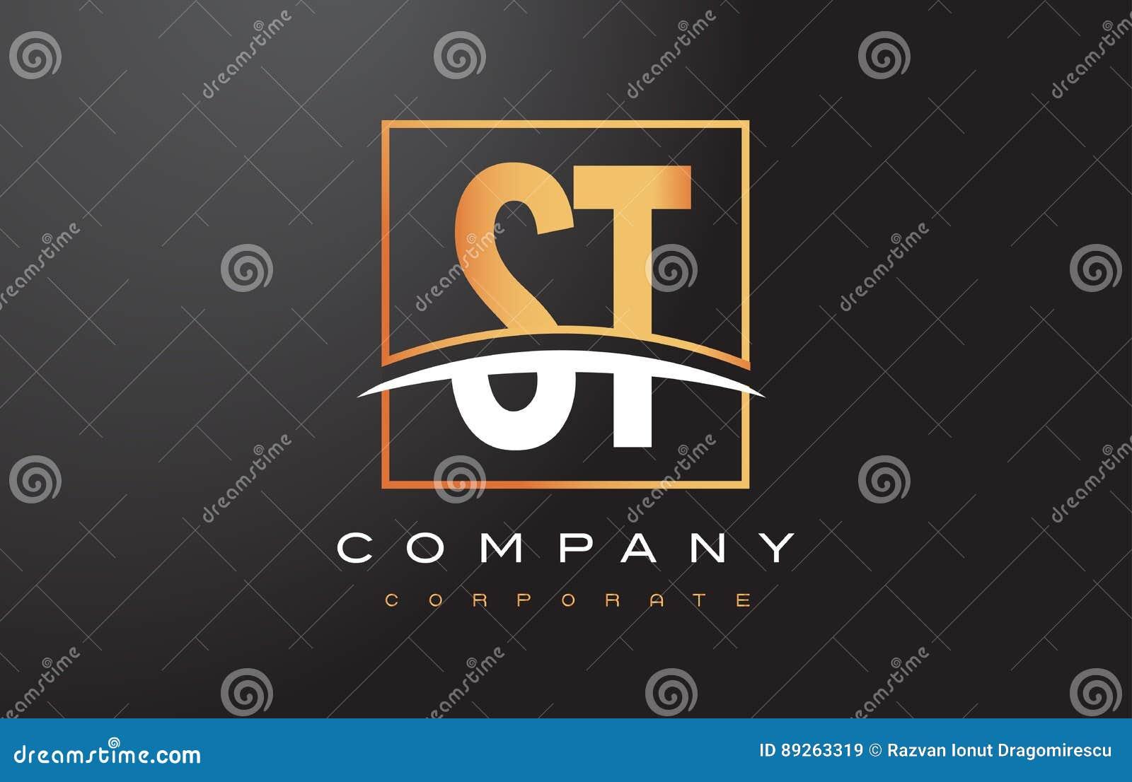 Χρυσό σχέδιο λογότυπων επιστολών του ST S Τ με το χρυσά τετράγωνο και Swoosh