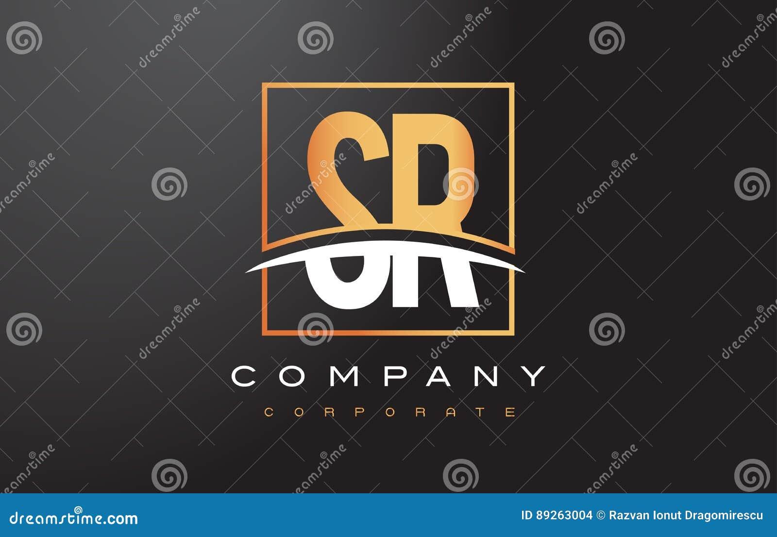 Χρυσό σχέδιο λογότυπων επιστολών SR S Ρ με το χρυσά τετράγωνο και Swoosh