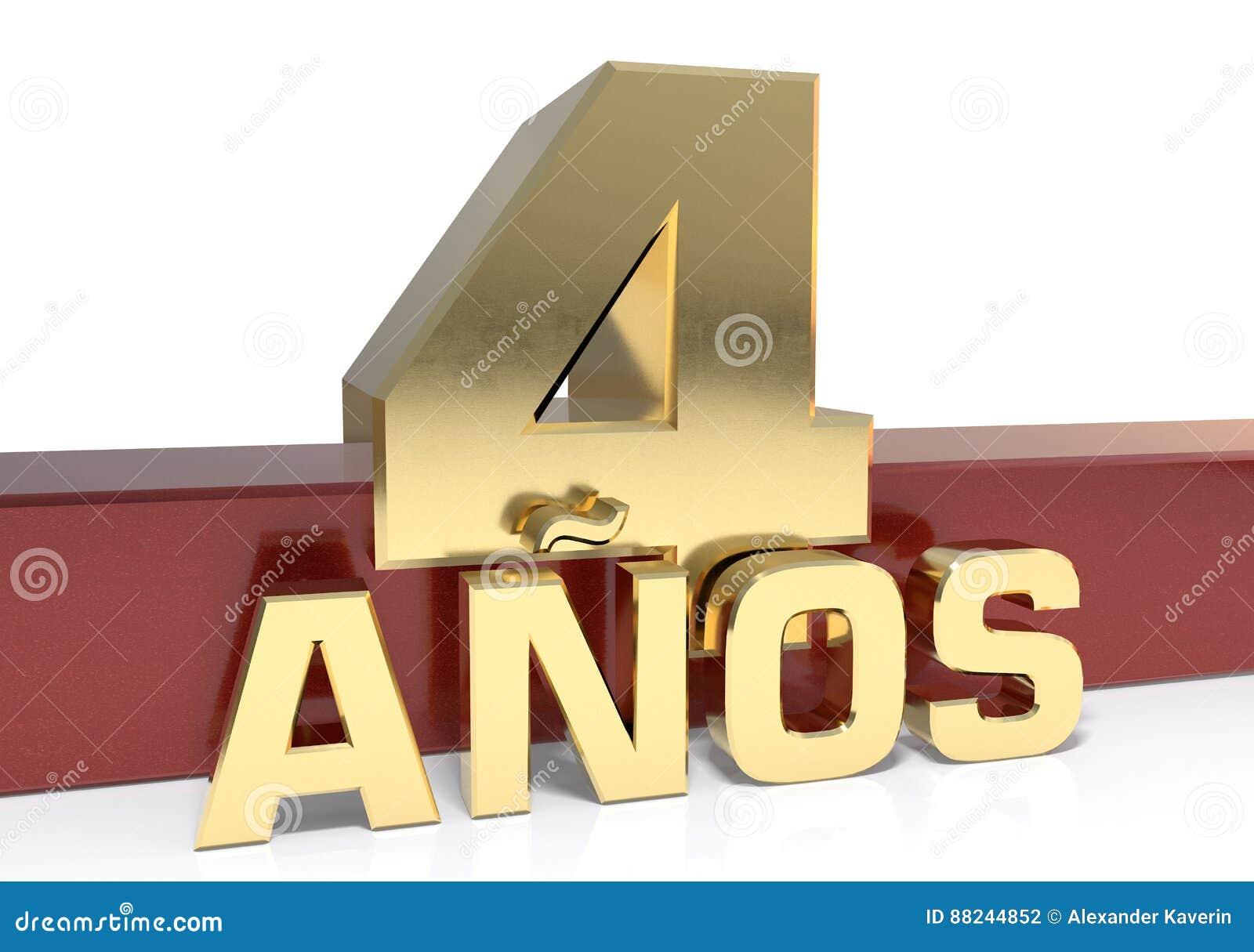 Χρυσό ψηφίο τέσσερα και η λέξη του έτους Μεταφρασμένος από τα ισπανικά - έτη τρισδιάστατη απεικόνιση