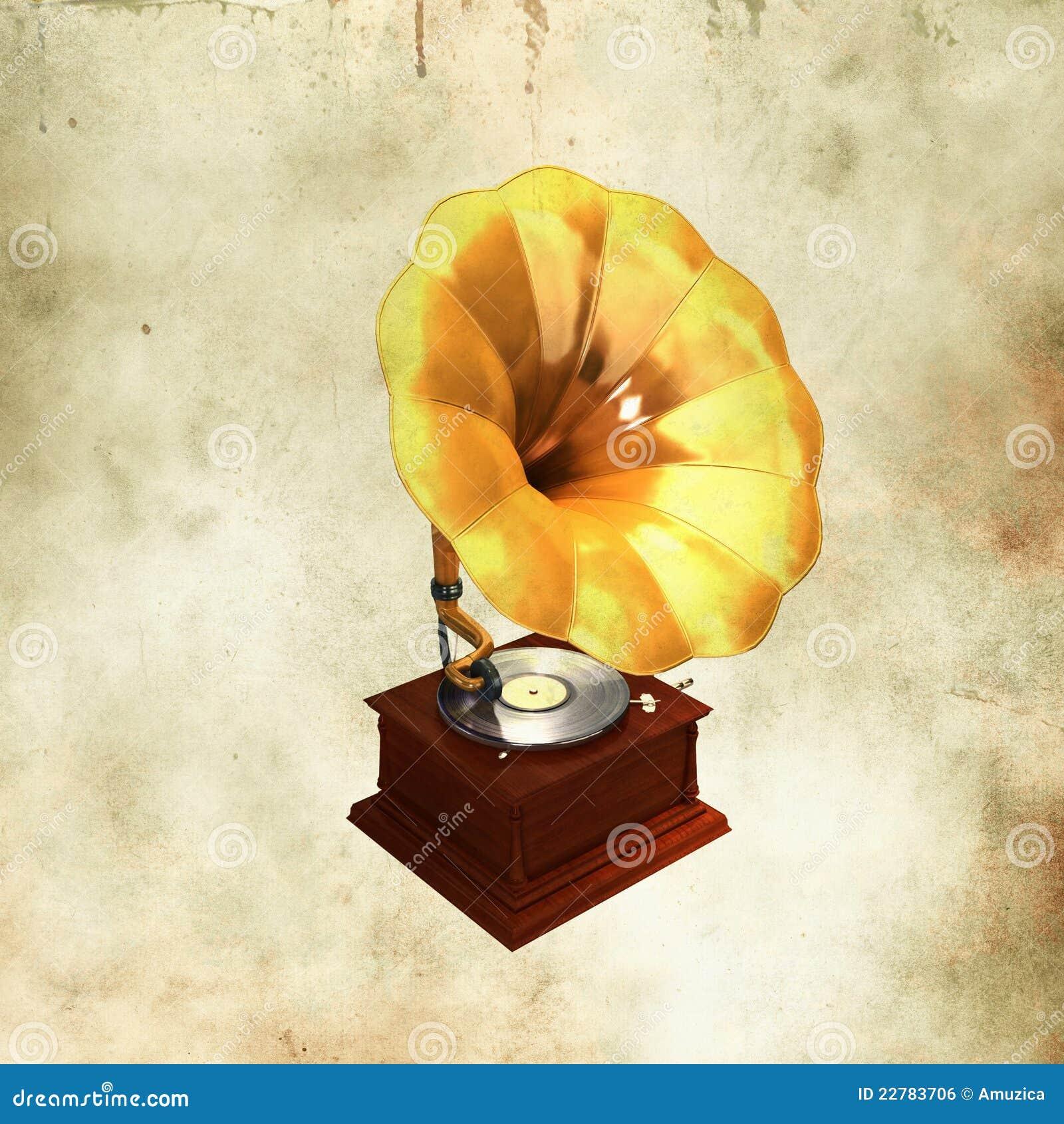 χρυσό gramophone αναδρομικό