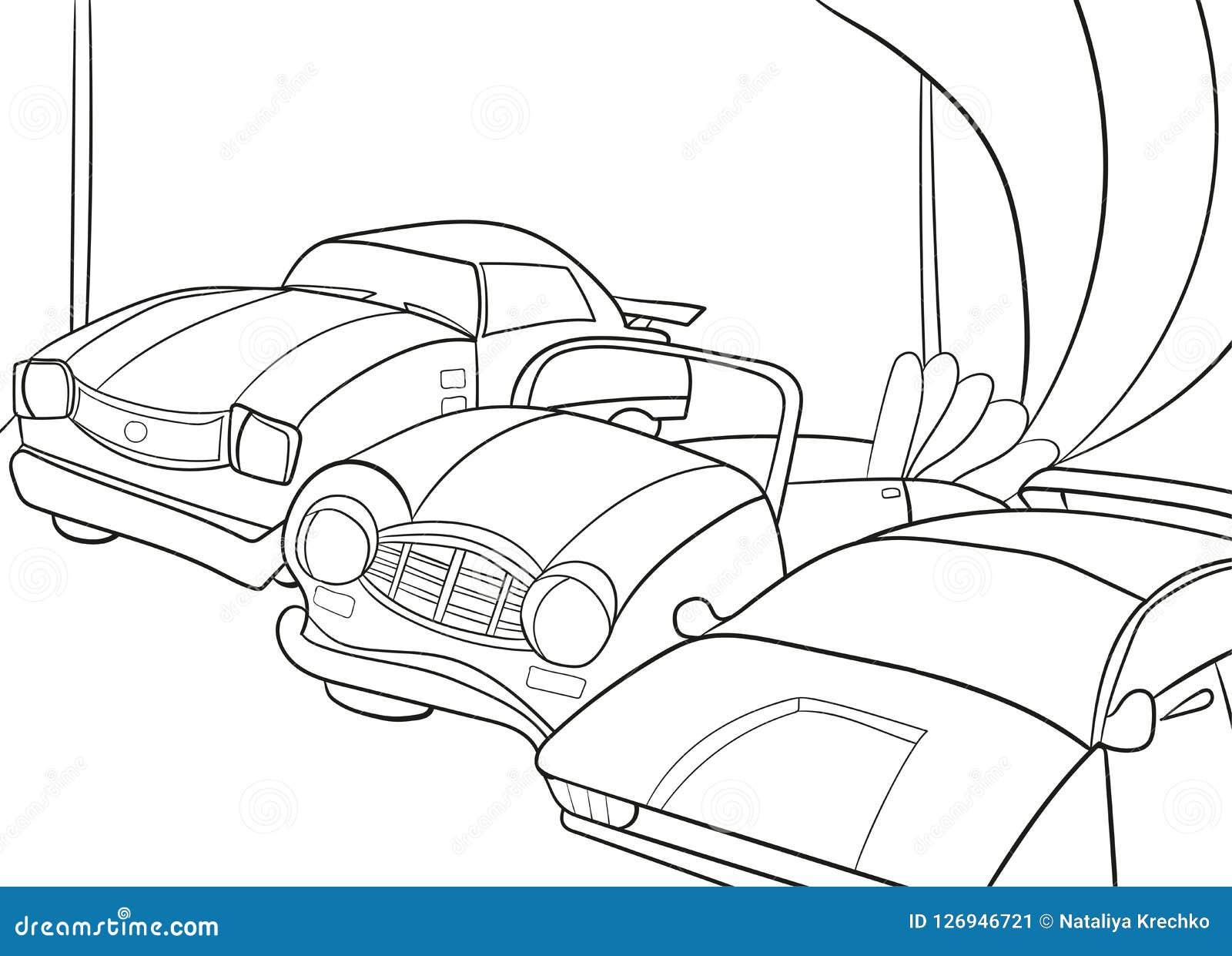 Χρωματίζοντας βιβλίο κινούμενων σχεδίων παιδιών για τα αγόρια Διανυσματική απεικόνιση - γκαράζ με τα αυτοκίνητα