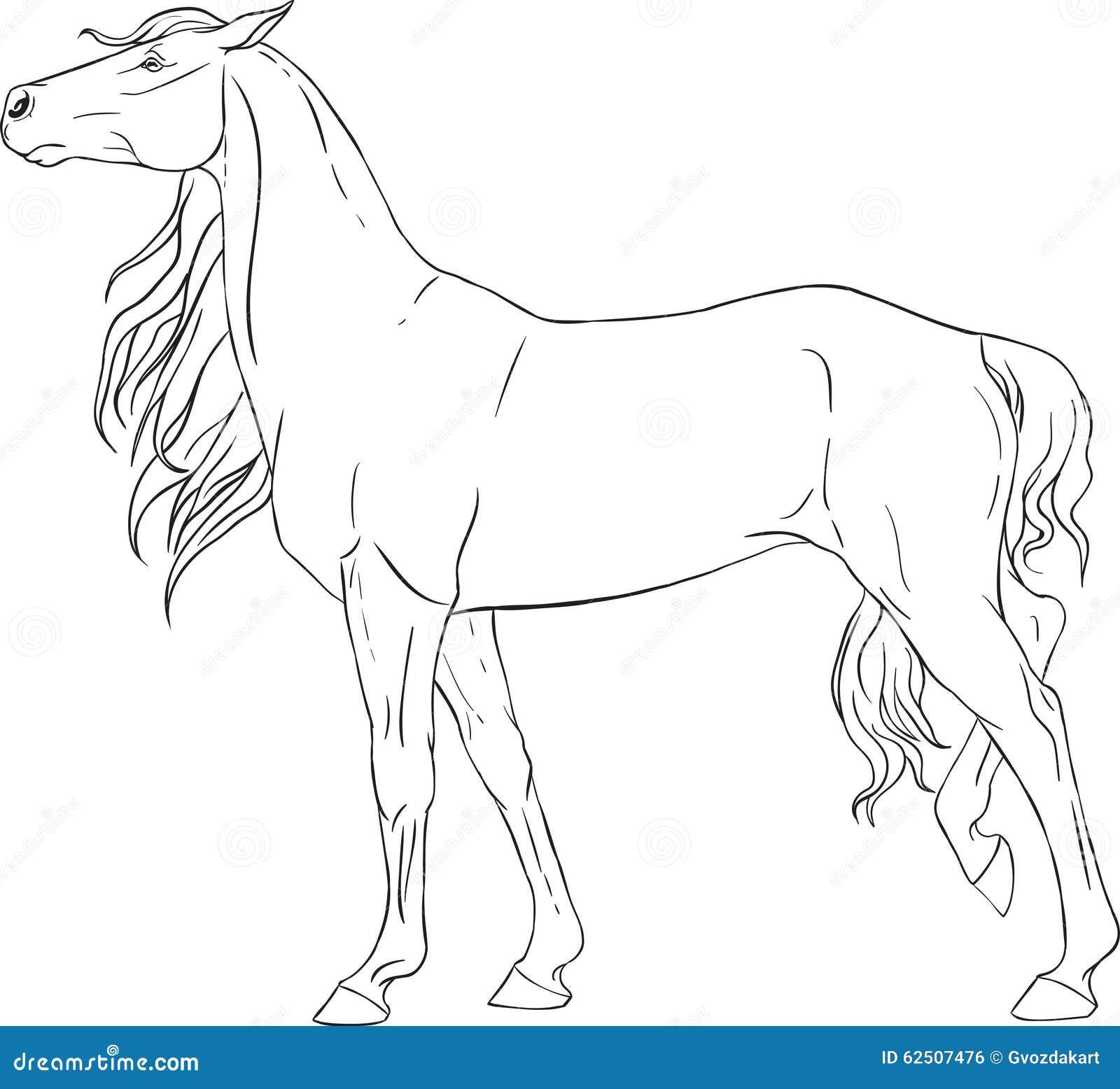 Χρωματίζοντας βιβλίο με ένα άλογο Διανυσματική απεικόνιση