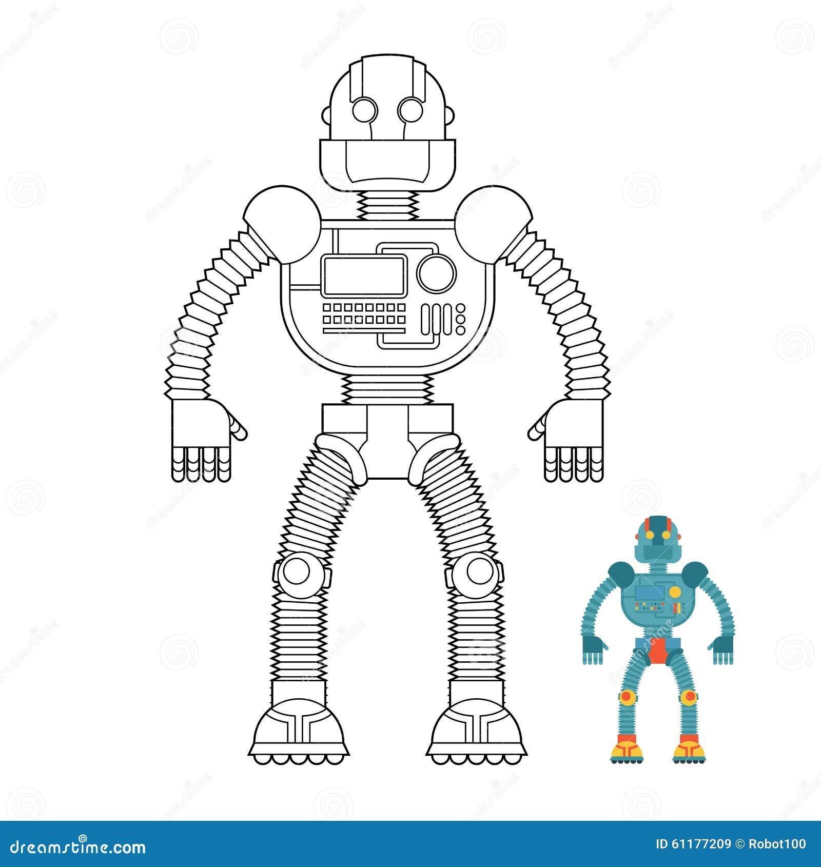 Χρωματίζοντας βιβλίο ρομπότ Cyborg - τεχνολογική μηχανή Humanoid μΑ