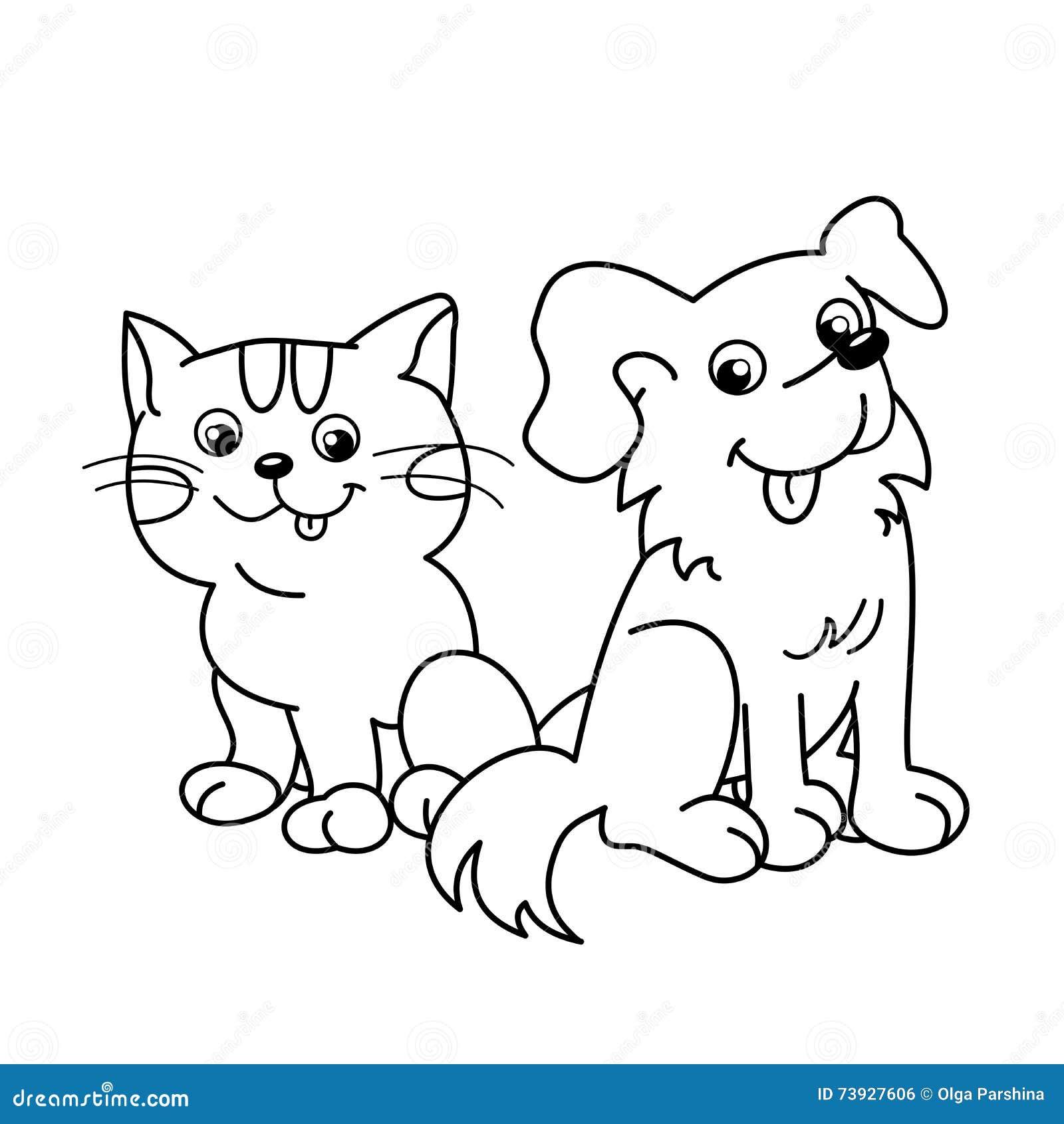 Χρωματίζοντας περίληψη σελίδων της γάτας κινούμενων σχεδίων με το σκυλί pets Χρωματίζοντας βιβλίο για τα παιδιά