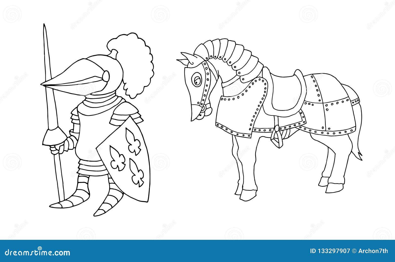 Χρωματίζοντας σελίδα μεσαιωνικό ιπποτών κινούμενων σχεδίων στα πρωταθλήματα ιπποτών