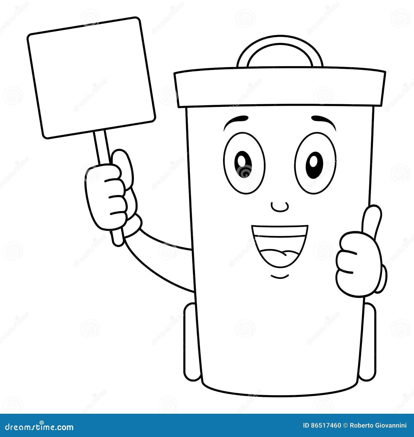 Χρωματίζοντας χαριτωμένο δοχείο δοχείων απορριμμάτων ή αποβλήτων