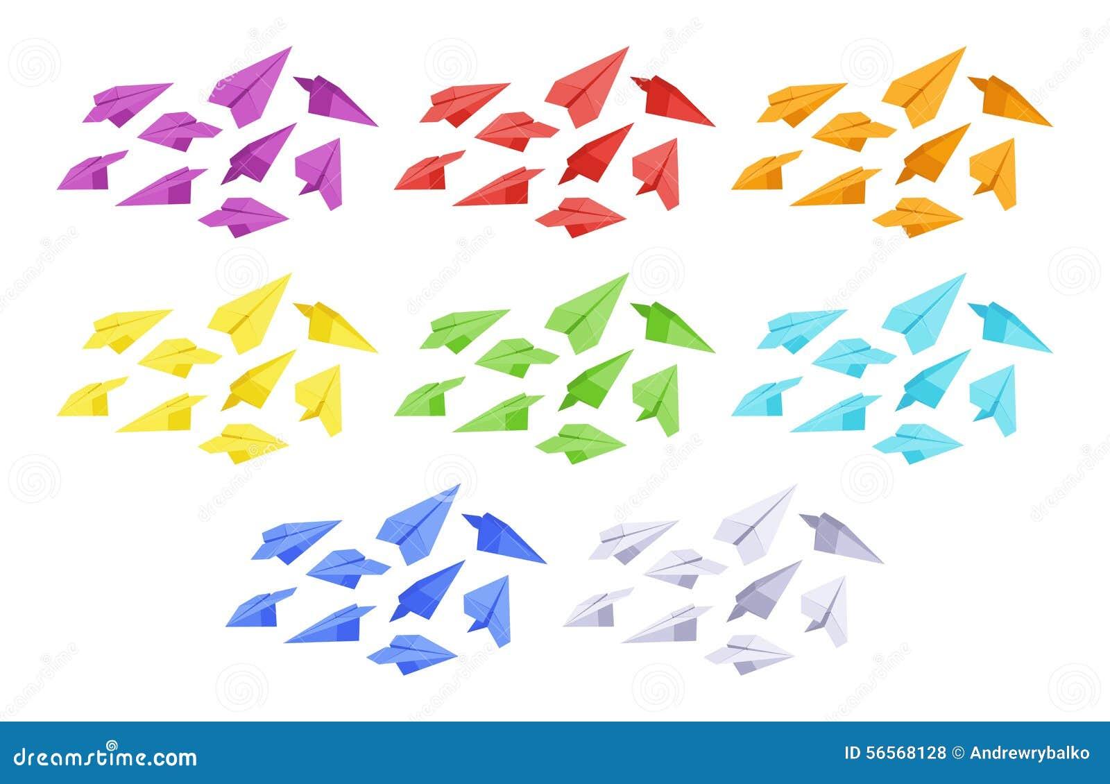 Download Χρωματισμένα αεροπλάνα εγγράφου Διανυσματική απεικόνιση - εικονογραφία από ταχυδρομείο, χρωματισμένος: 56568128