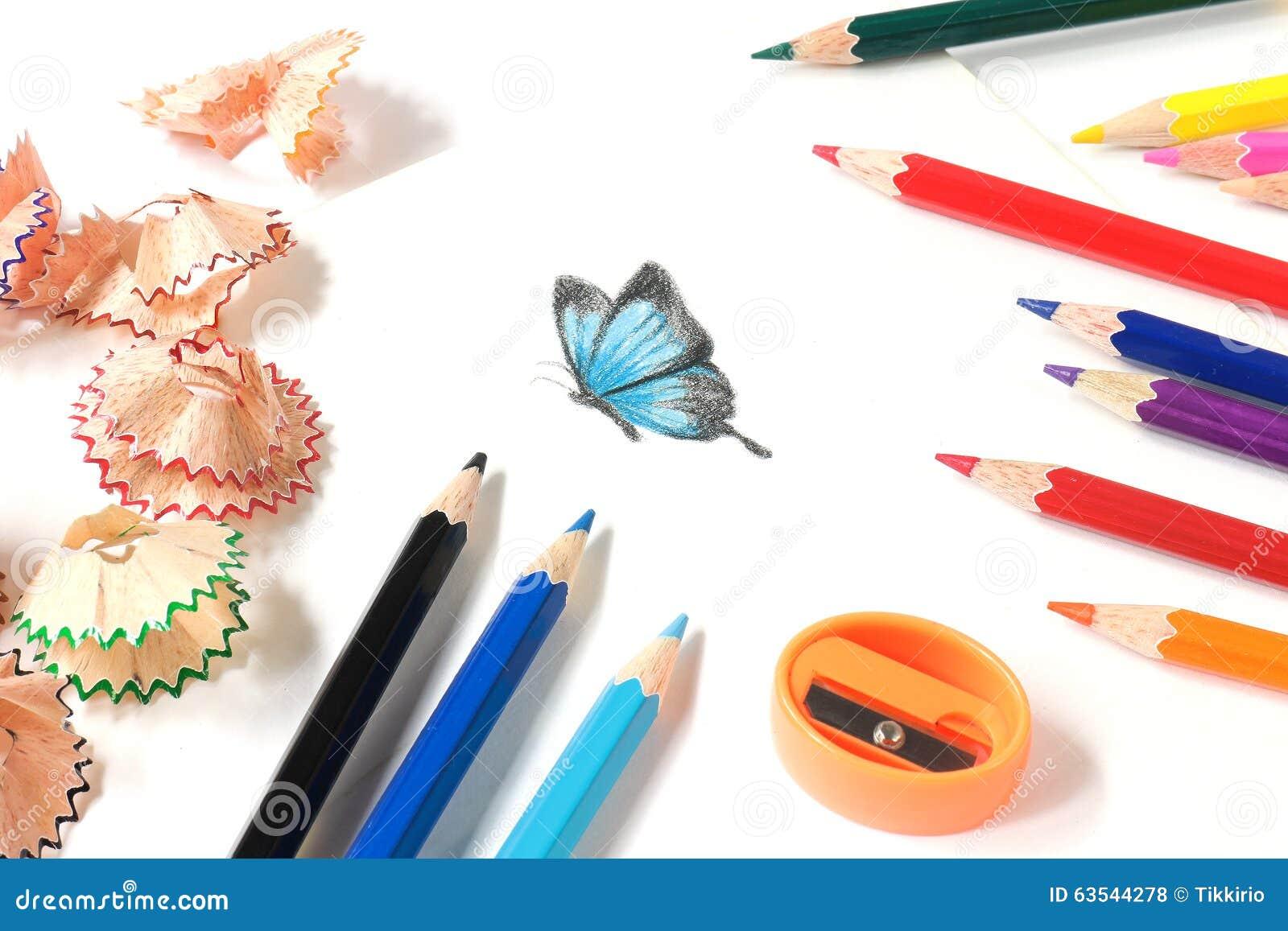 Χρωματισμένα ακόνισμα μολυβιών και σχέδιο πεταλούδων